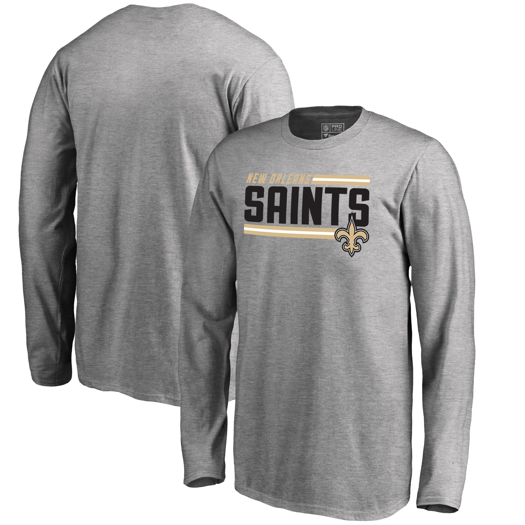 New Orleans Saints NFL Pro Line by Fanatics Branded Youth Iconic Collection On Side Stripe Long Sleeve T-Shirt - Ash