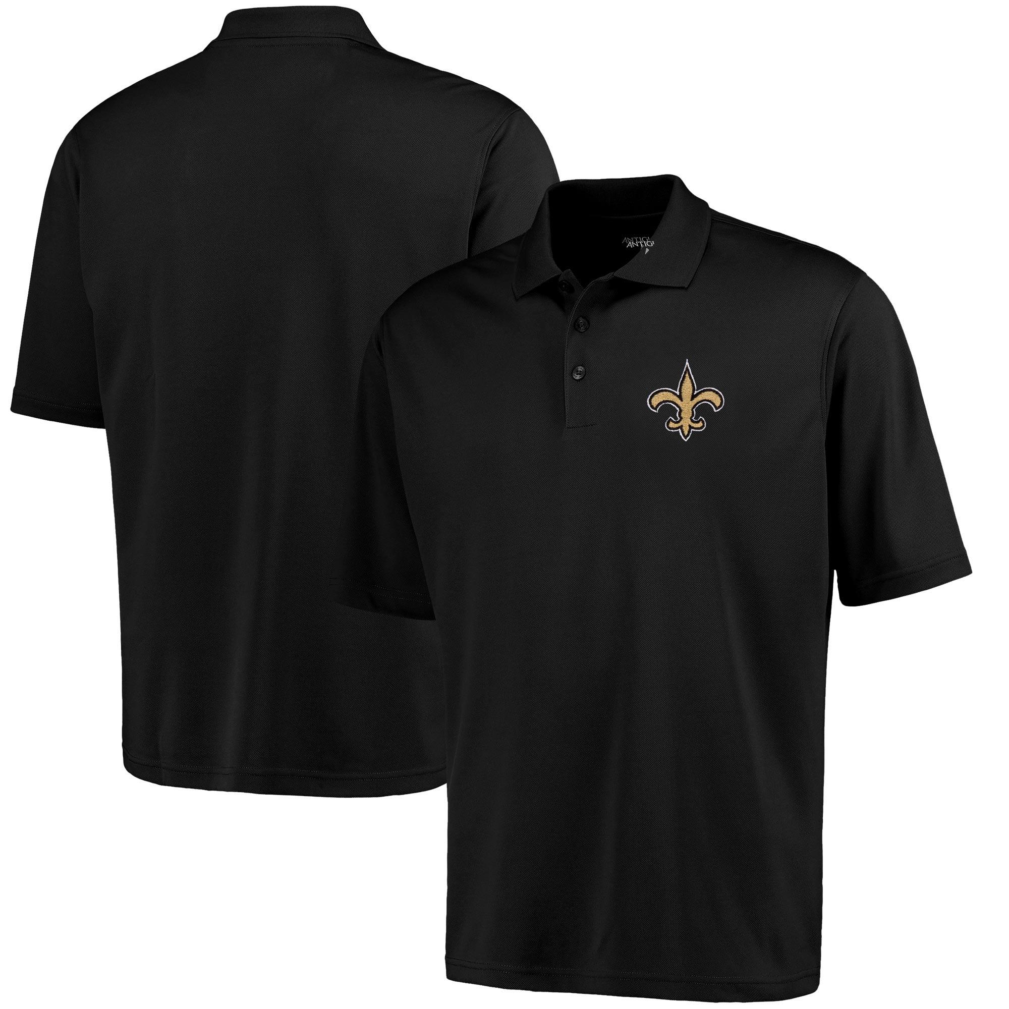 New Orleans Saints Antigua Pique Xtra-Lite Polo - Black