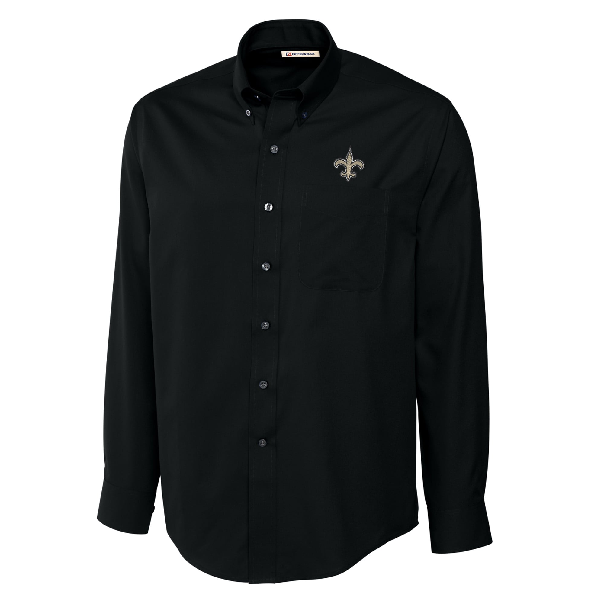 New Orleans Saints Cutter & Buck Big & Tall Epic Easy Care Woven Long Sleeve Shirt - Black