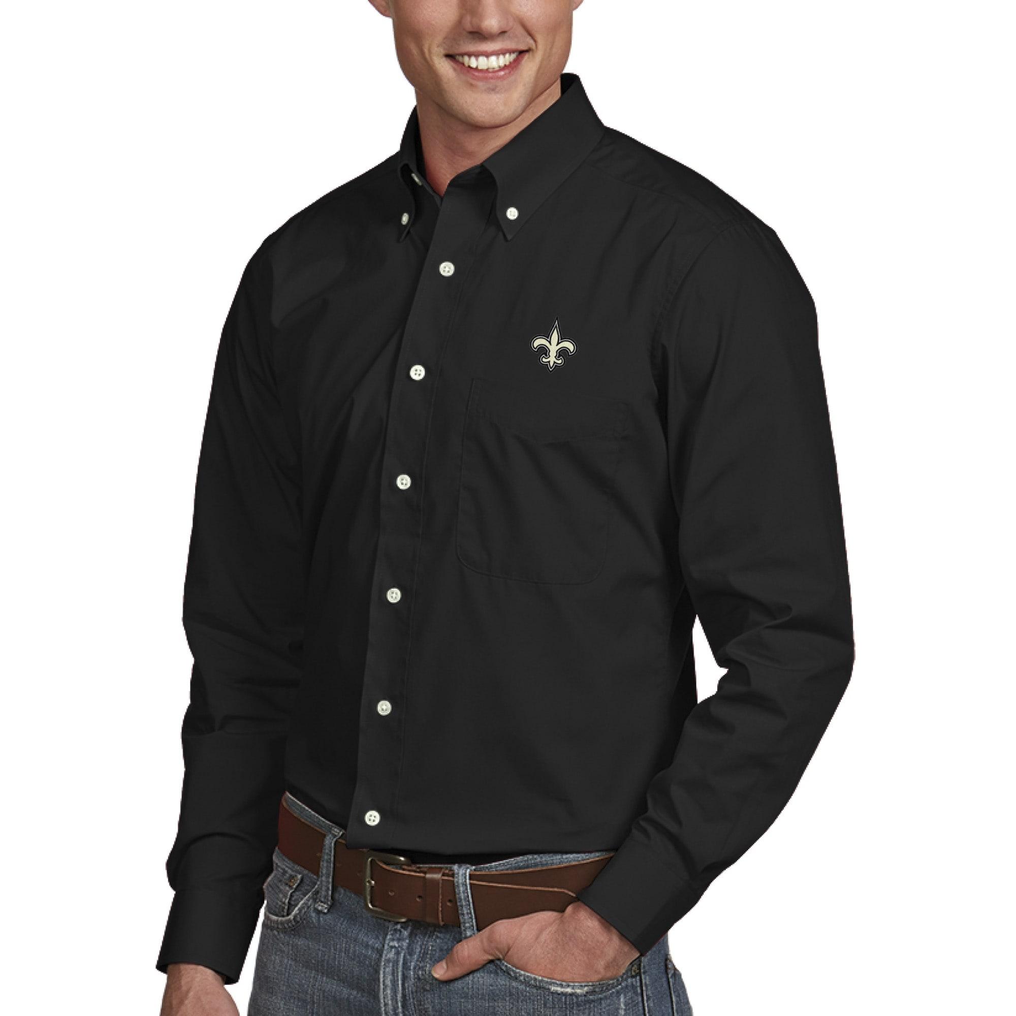 New Orleans Saints Antigua Dynasty Woven Long Sleeve Shirt - Black