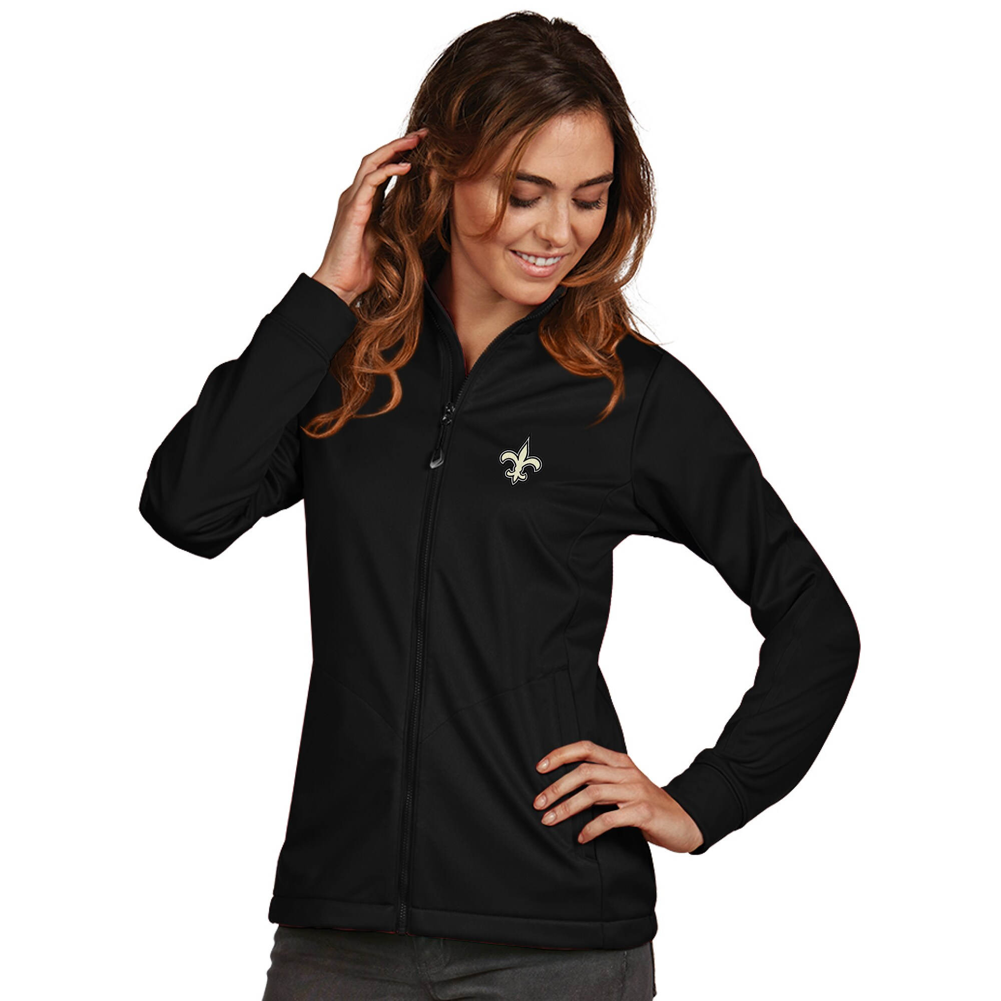 New Orleans Saints Women's Antigua Full-Zip Golf Jacket - Black