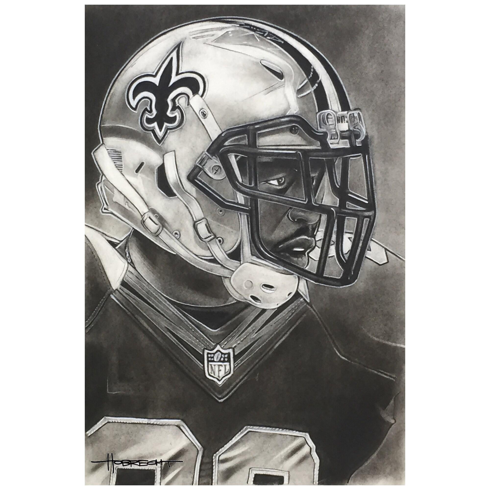 """New Orleans Saints Deacon Jones Foundation 14"""" x 9"""" Helmet Series Fine Art Giclée Canvas"""