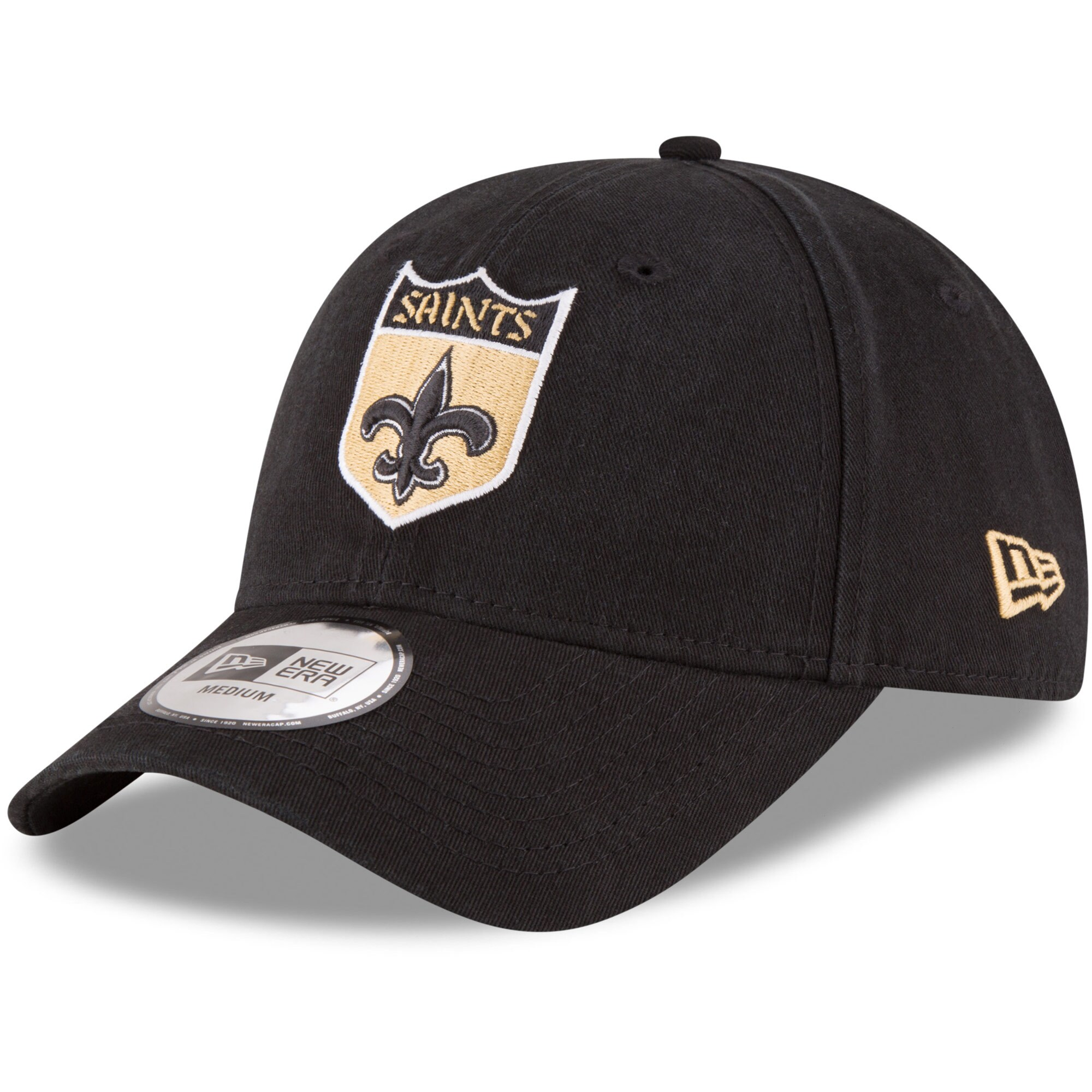 New Orleans Saints New Era NE Core Fit Throwback 49FORTY Fitted Hat - Black