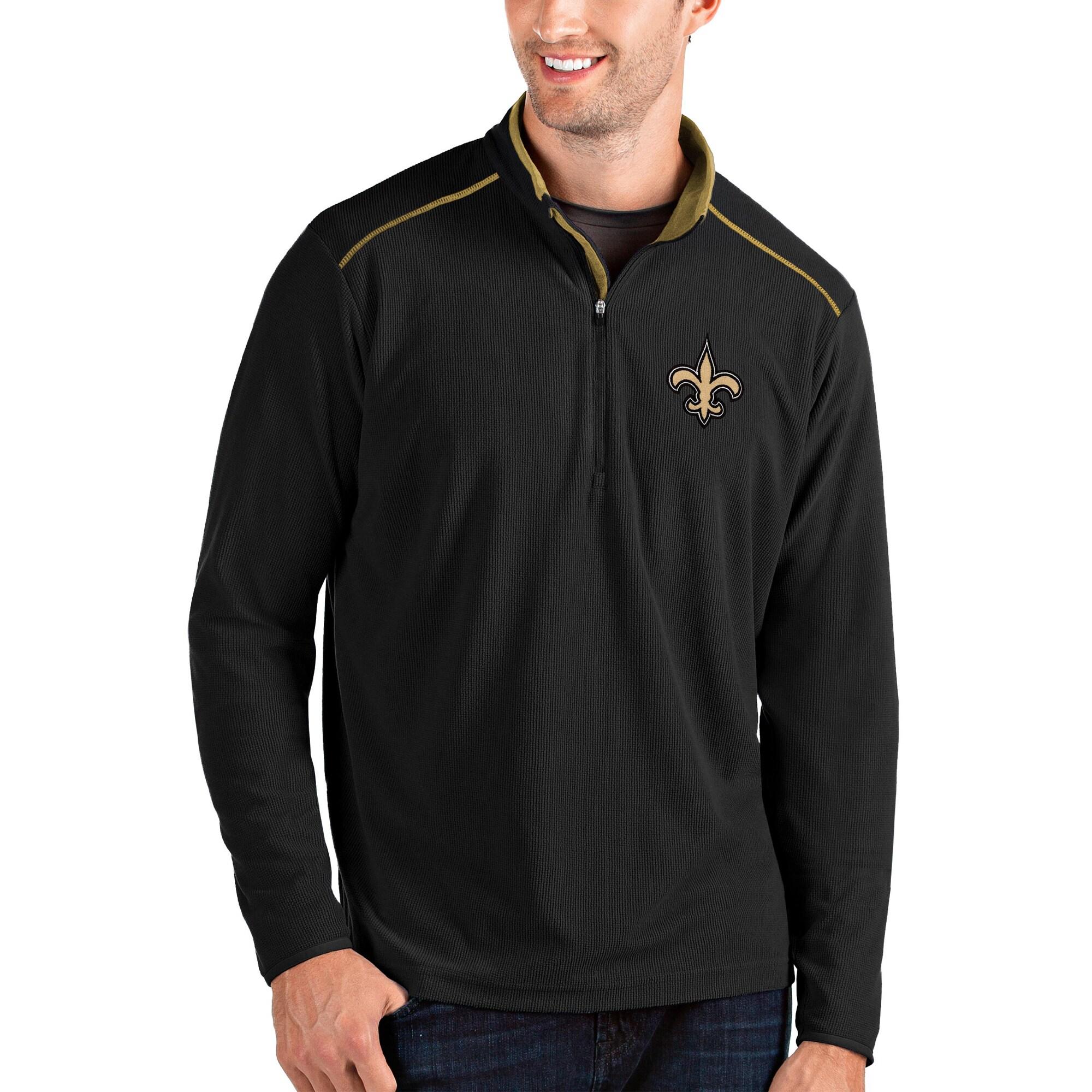 New Orleans Saints Antigua Glacier Quarter-Zip Pullover Jacket - Black/Gold