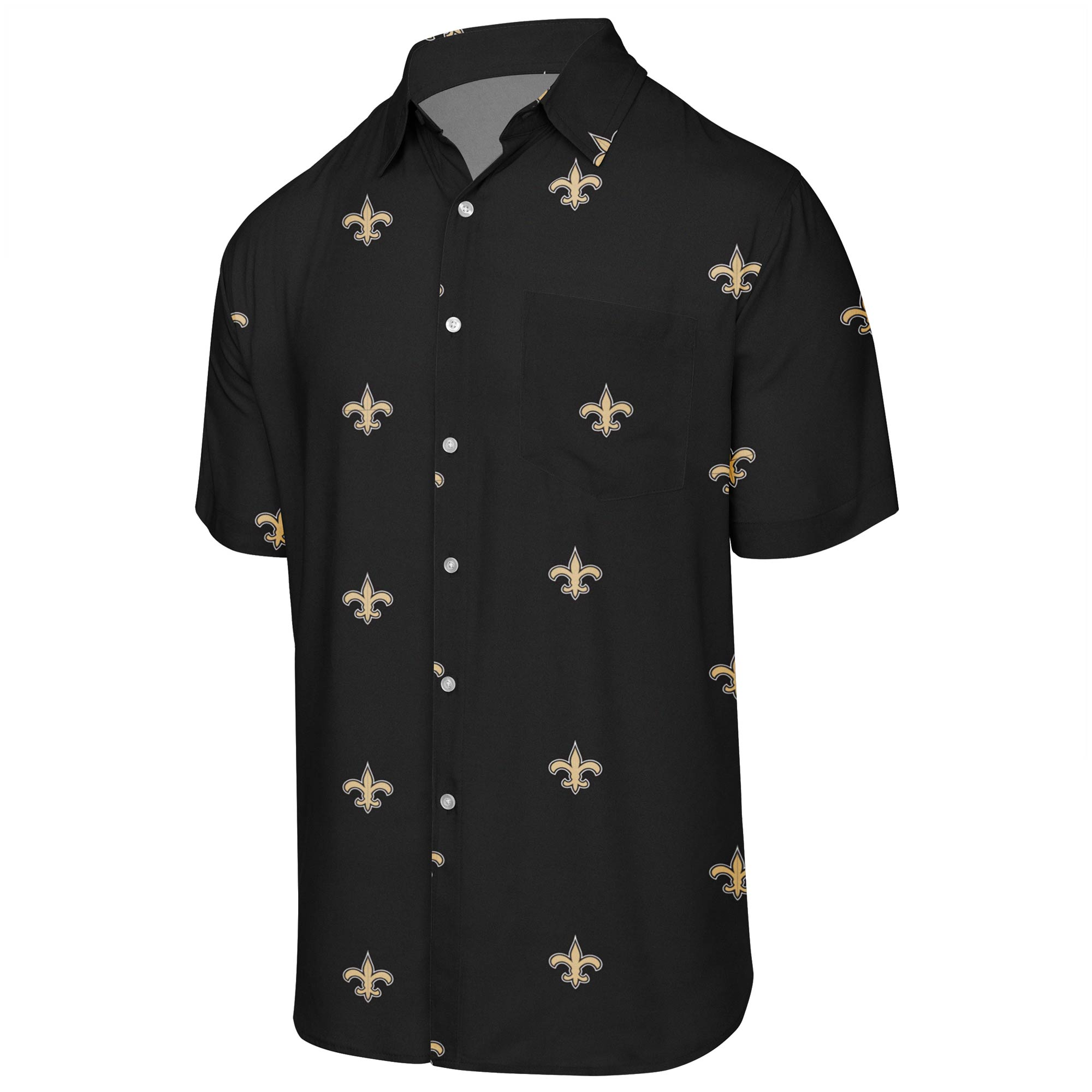New Orleans Saints Mini Print Logo Woven Button-Up Shirt - Black