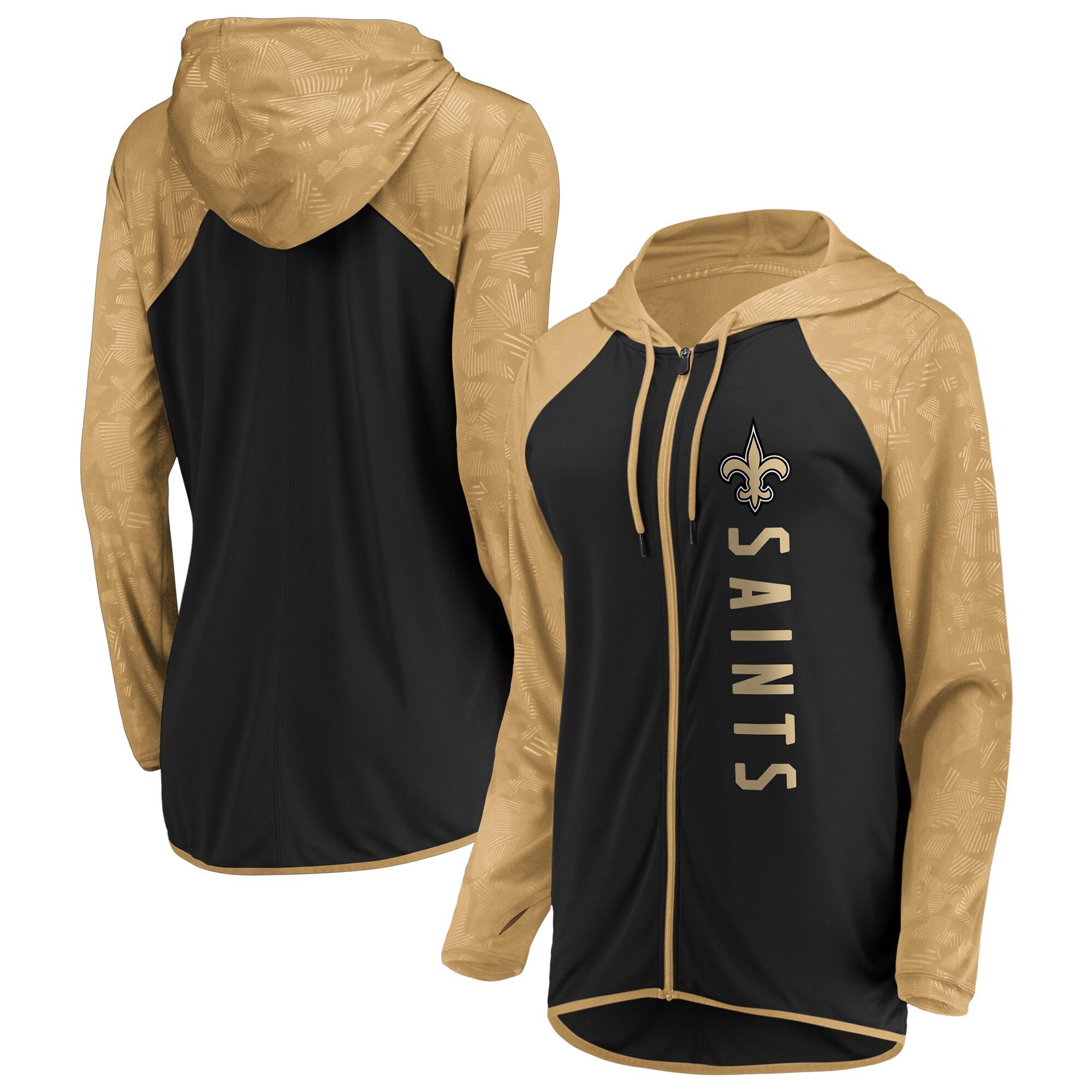 New Orleans Saints Fanatics Branded Women's Forever Fan Full-Zip Hoodie - Black