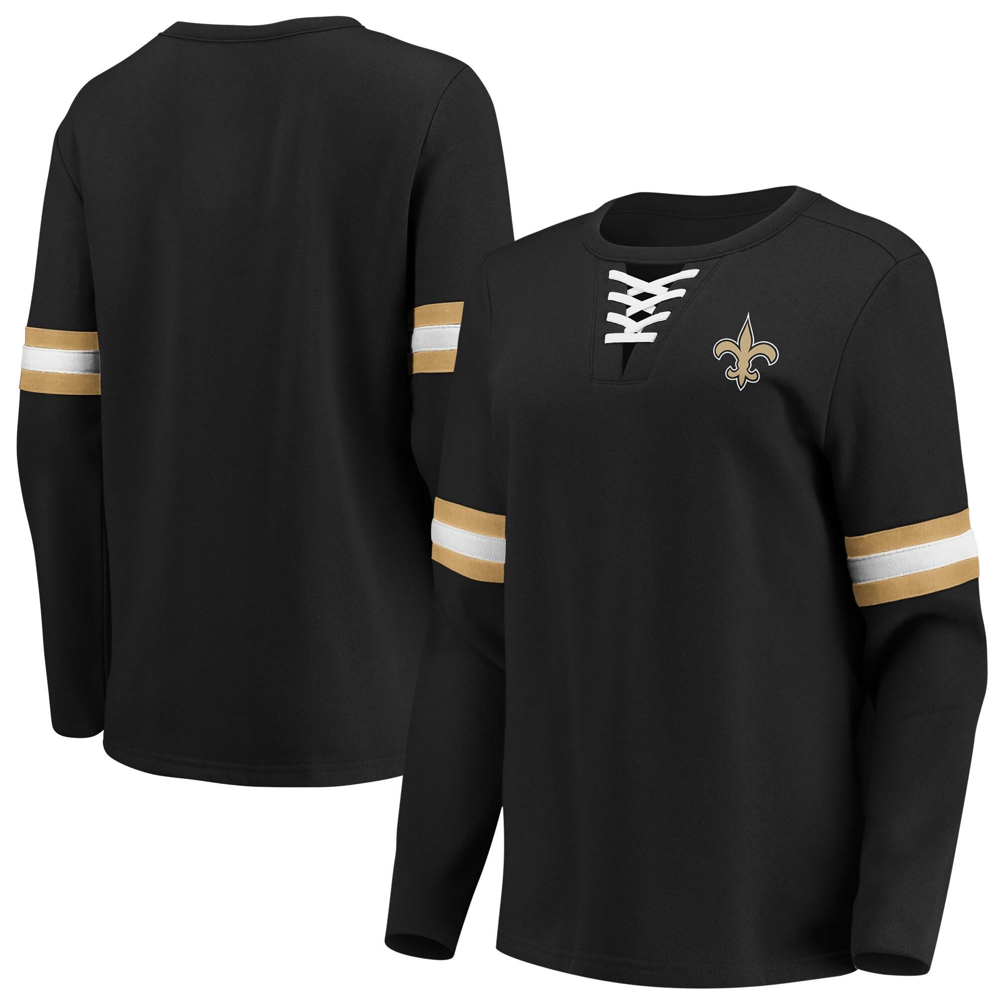 New Orleans Saints Fanatics Branded Women's Lead Draft Lace-Up Pullover Fleece Sweatshirt - Black
