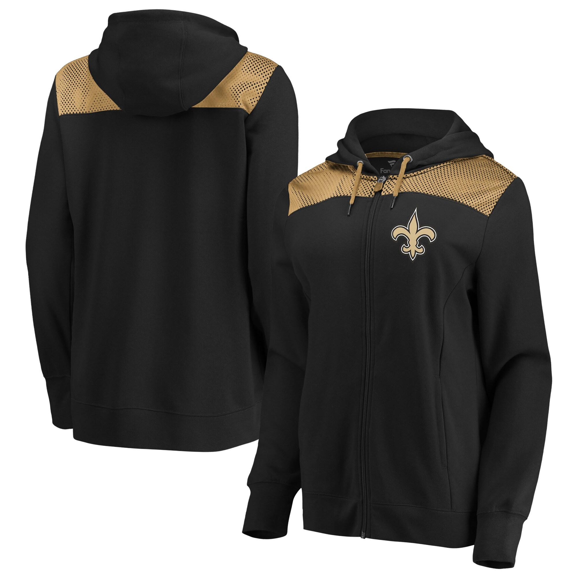 New Orleans Saints Fanatics Branded Women's Team Best Full-Zip Hoodie - Black