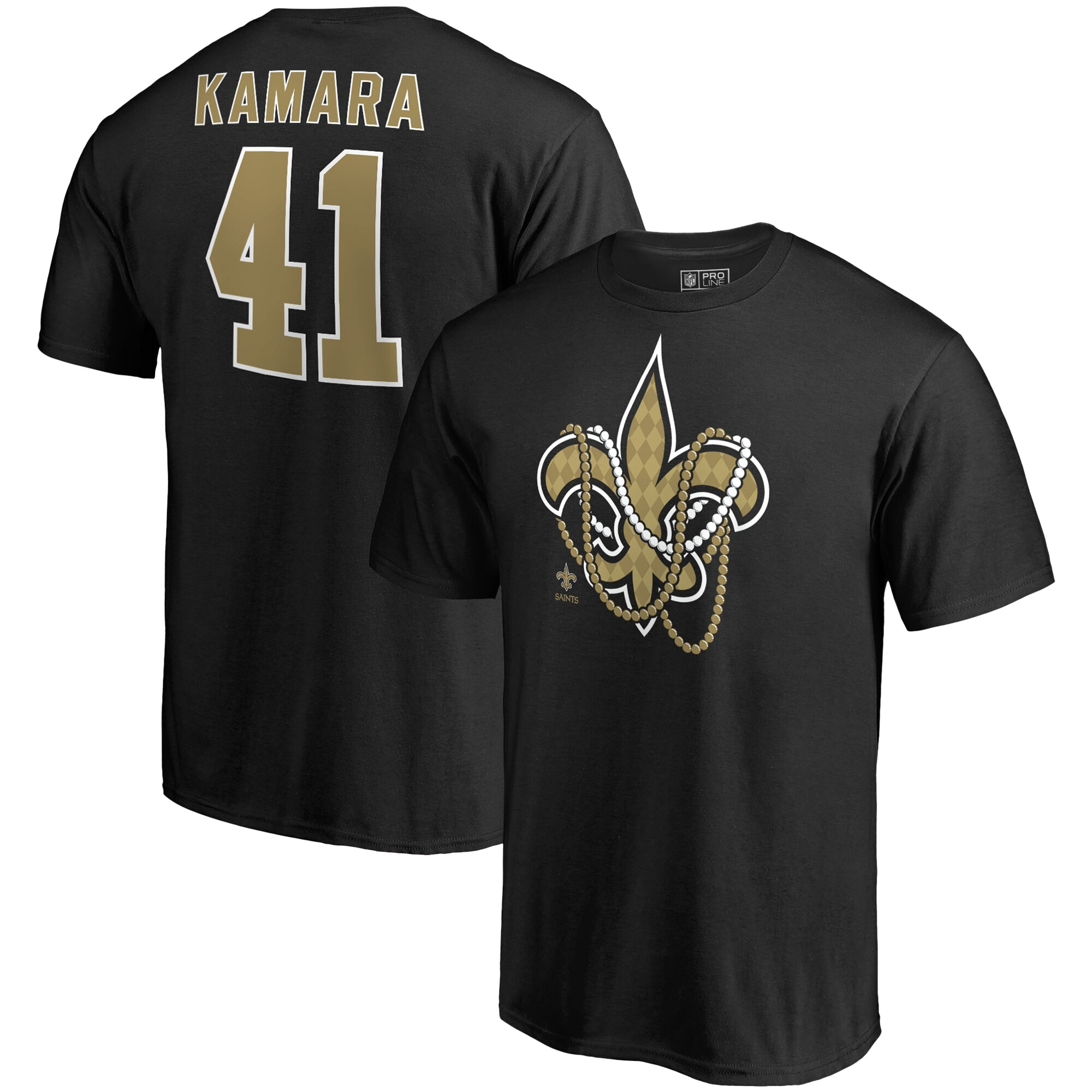Alvin Kamara New Orleans Saints NFL Pro Line by Fanatics Branded Mardi Gras Team Icon Name & Number T-Shirt - Black