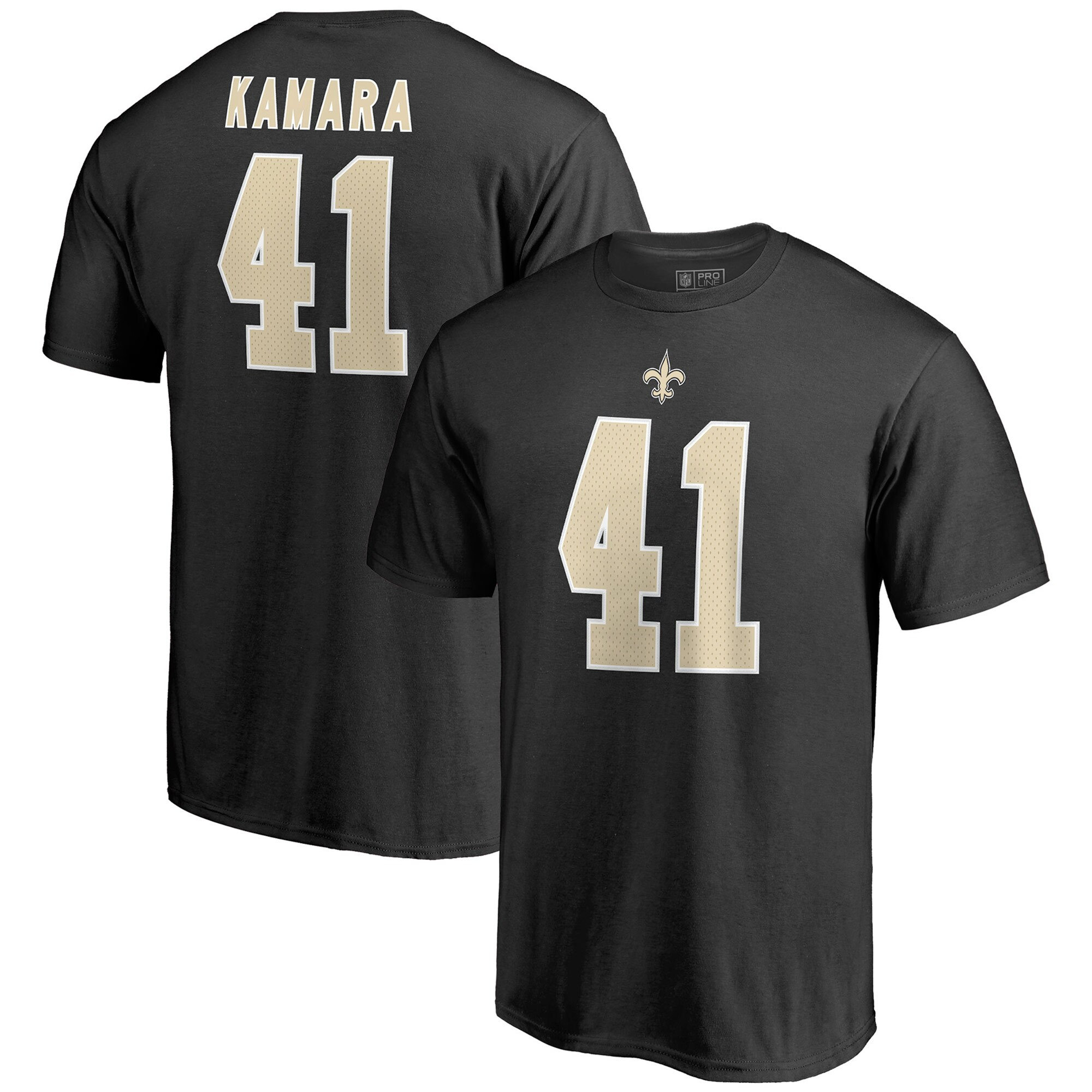 Alvin Kamara New Orleans Saints NFL Pro Line by Fanatics Branded Team Authentic Stack Name & Number T-Shirt - Black