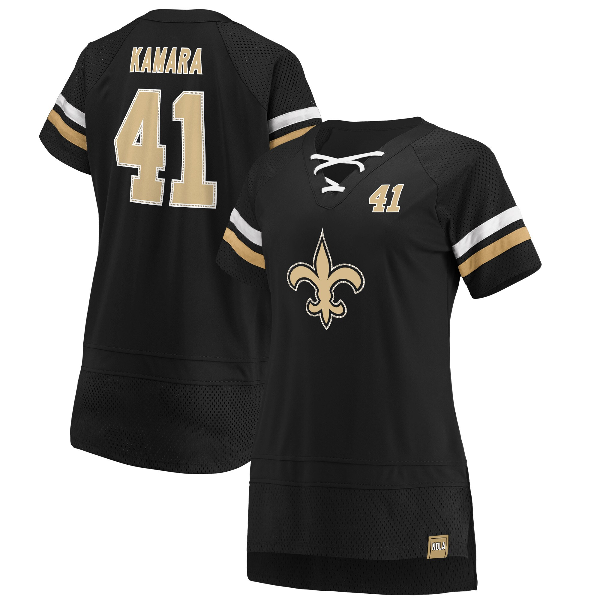Alvin Kamara New Orleans Saints NFL Pro Line by Fanatics Branded Women's Athena Iconic Player Name & Number V-Neck Top - Black
