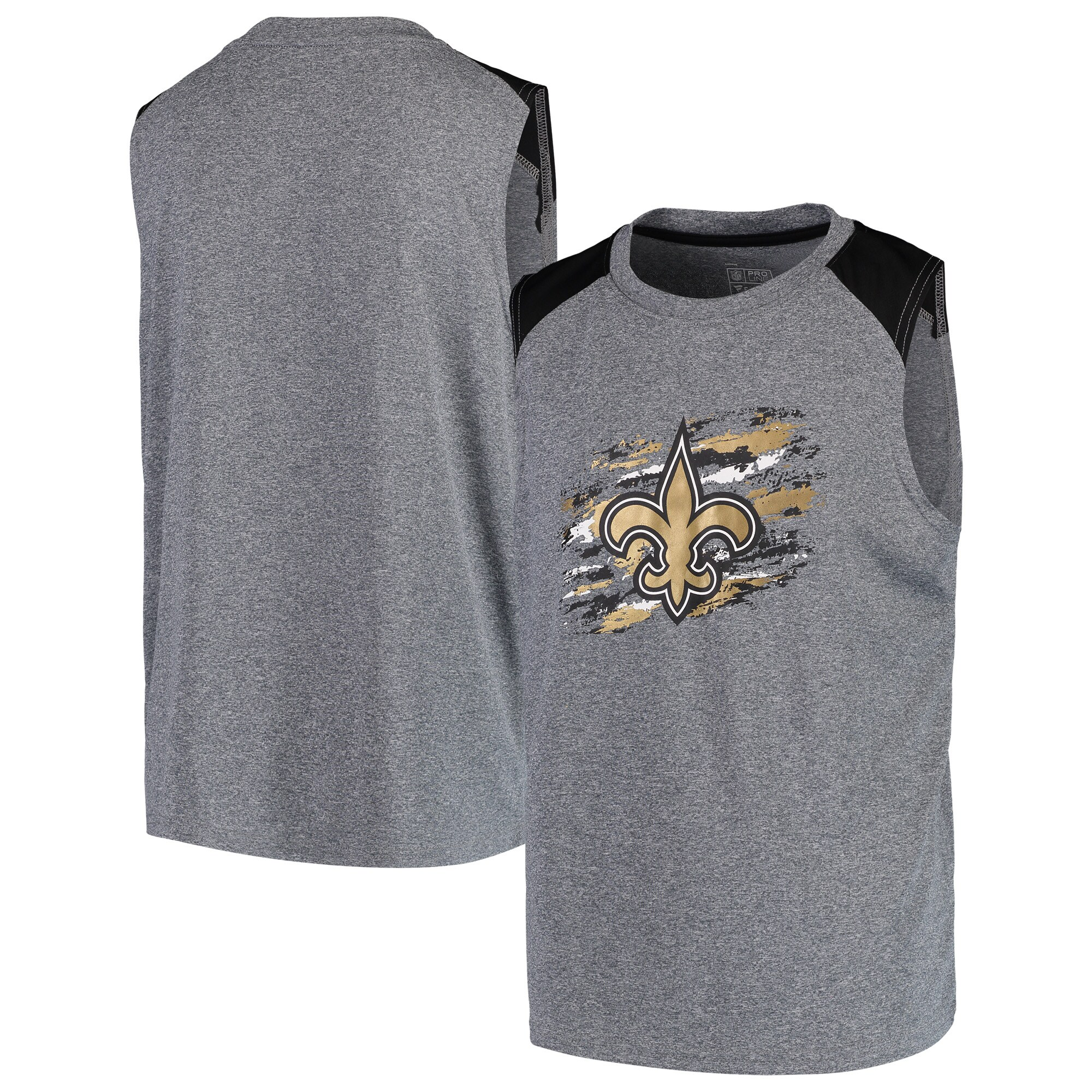 New Orleans Saints NFL Pro Line by Fanatics Branded Youth True Colors Sleeveless T-Shirt - Heathered Gray