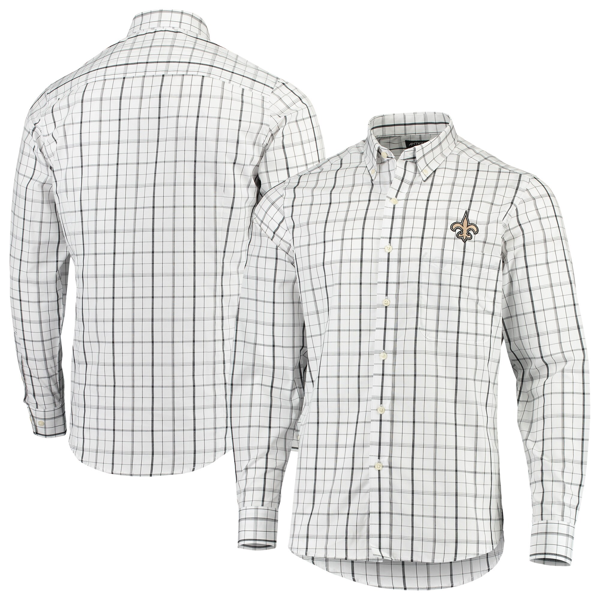 New Orleans Saints Antigua Keen Long Sleeve Button-Down Shirt - White/Black