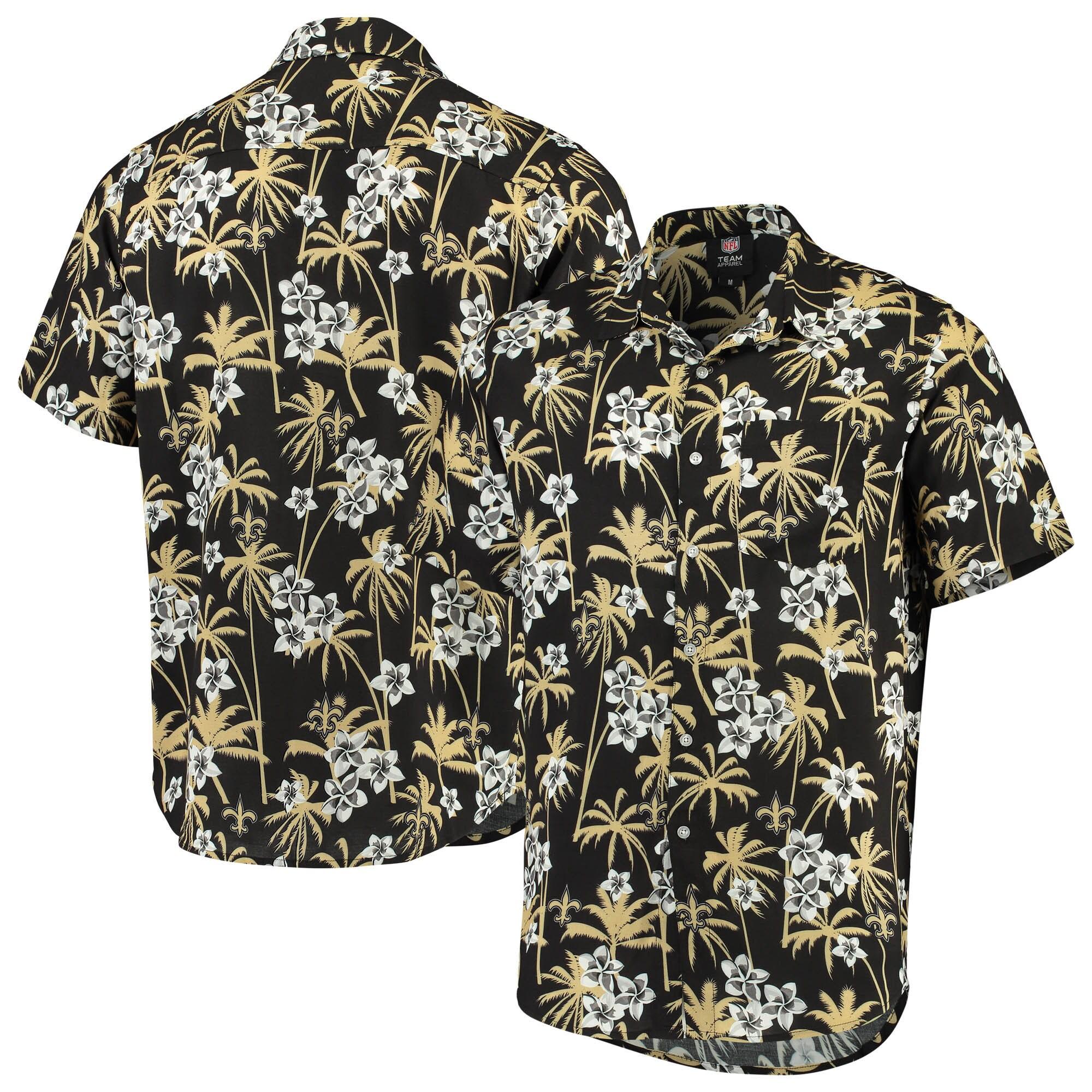 New Orleans Saints Floral Woven Button-Up Shirt - Black
