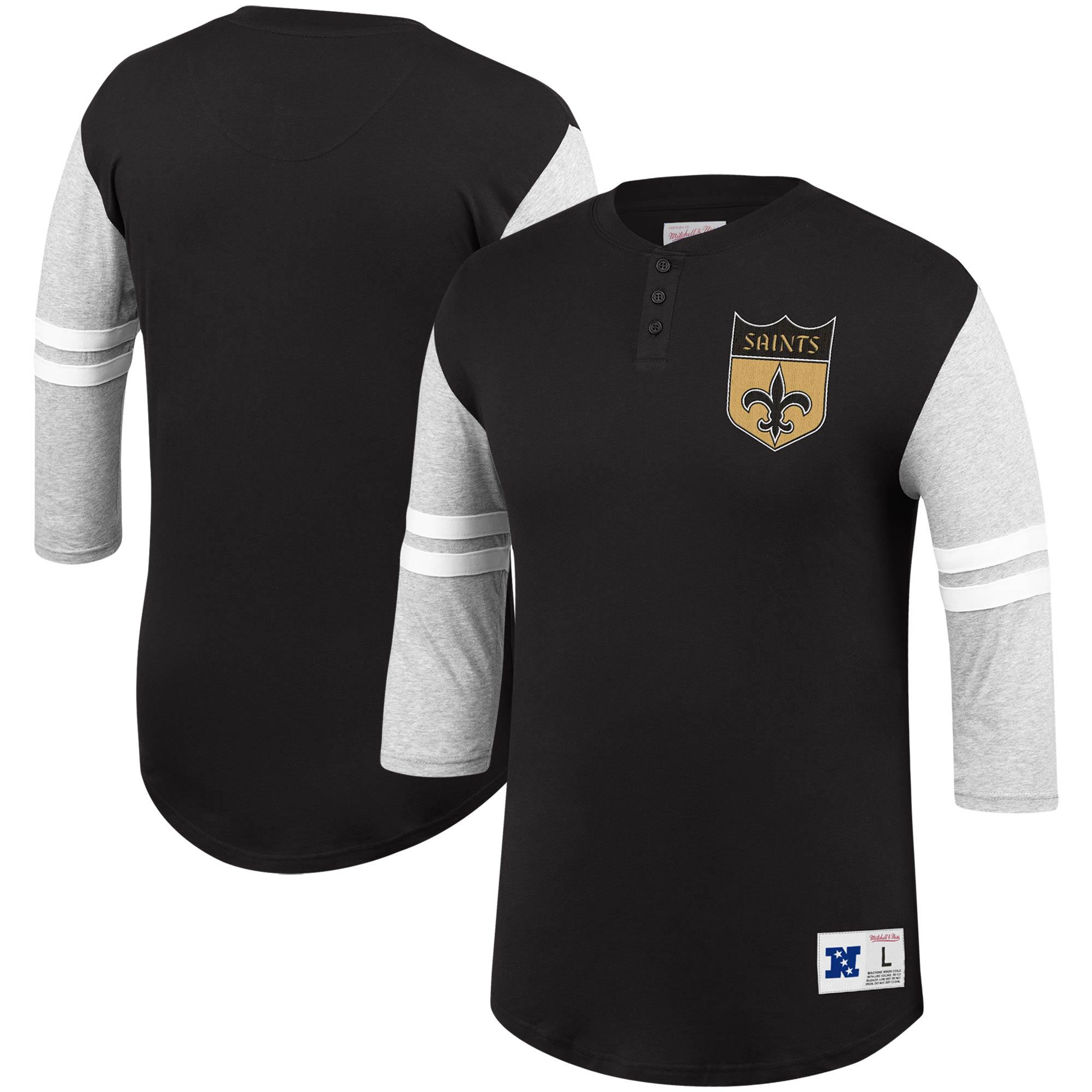 New Orleans Saints Mitchell & Ness Team Logo 3/4-Sleeve Henley T-Shirt - Black