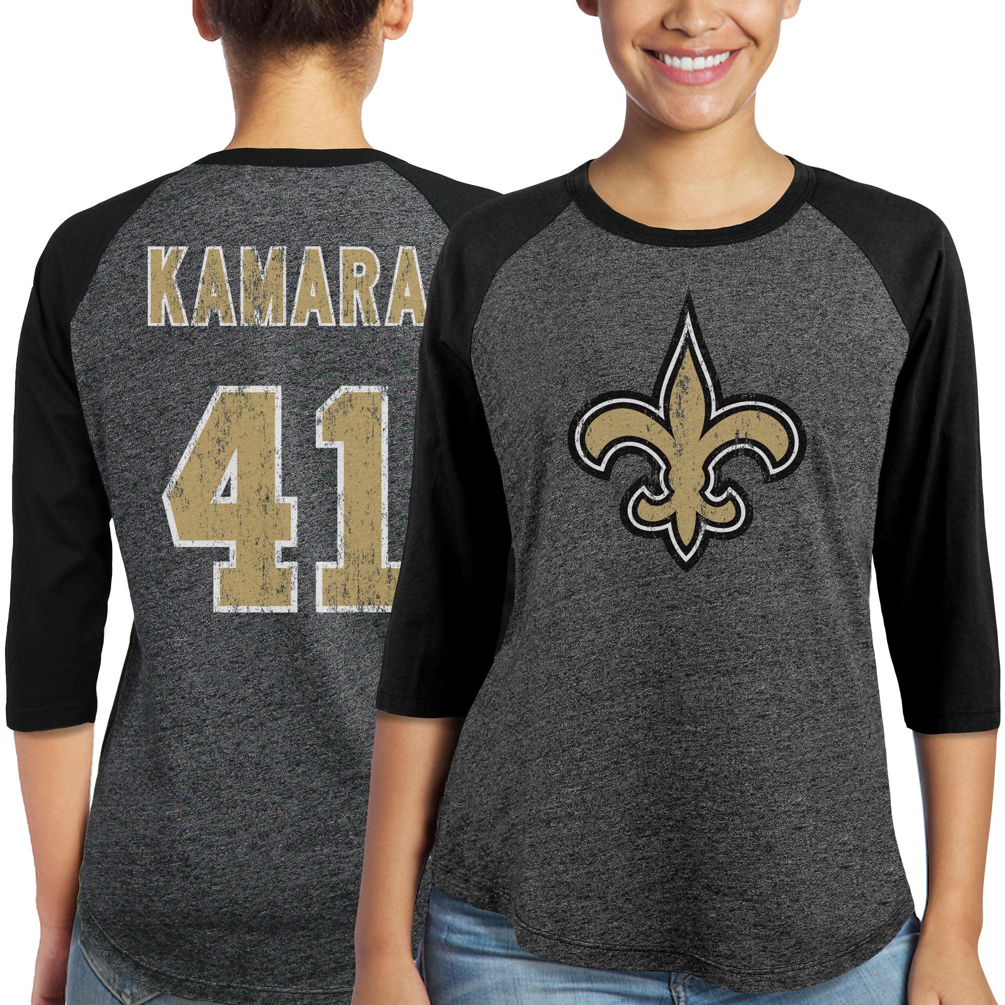 Alvin Kamara New Orleans Saints Majestic Women's Player Name & Number Tri-Blend 3/4-Sleeve Raglan T-Shirt - Black