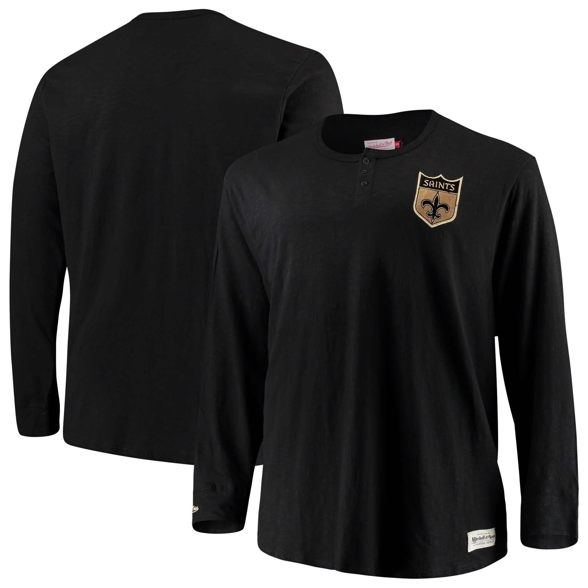 New Orleans Saints Mitchell & Ness Big & Tall First Round Pick Long Sleeve Henley T-Shirt - Black