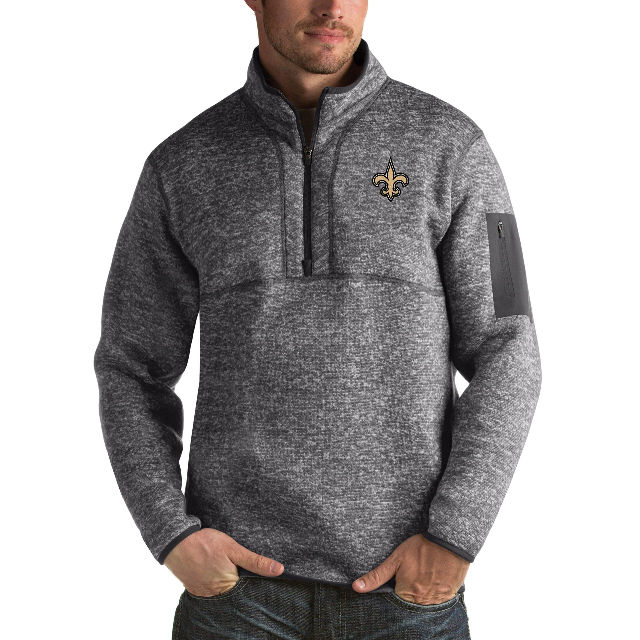 New Orleans Saints Antigua Fortune Big & Tall Quarter-Zip Pullover Jacket - Charcoal
