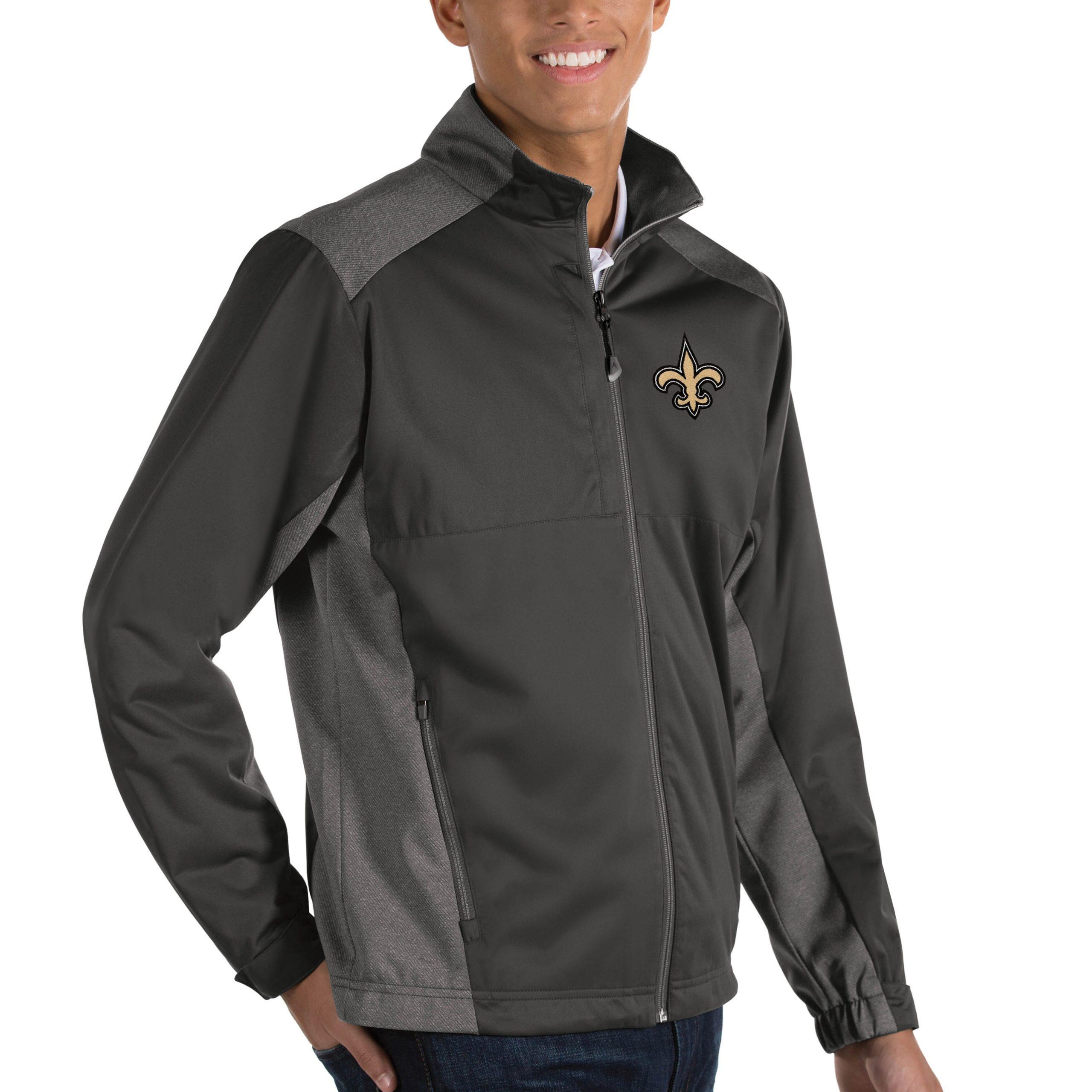 New Orleans Saints Antigua Revolve Big & Tall Full-Zip Jacket - Heather Charcoal