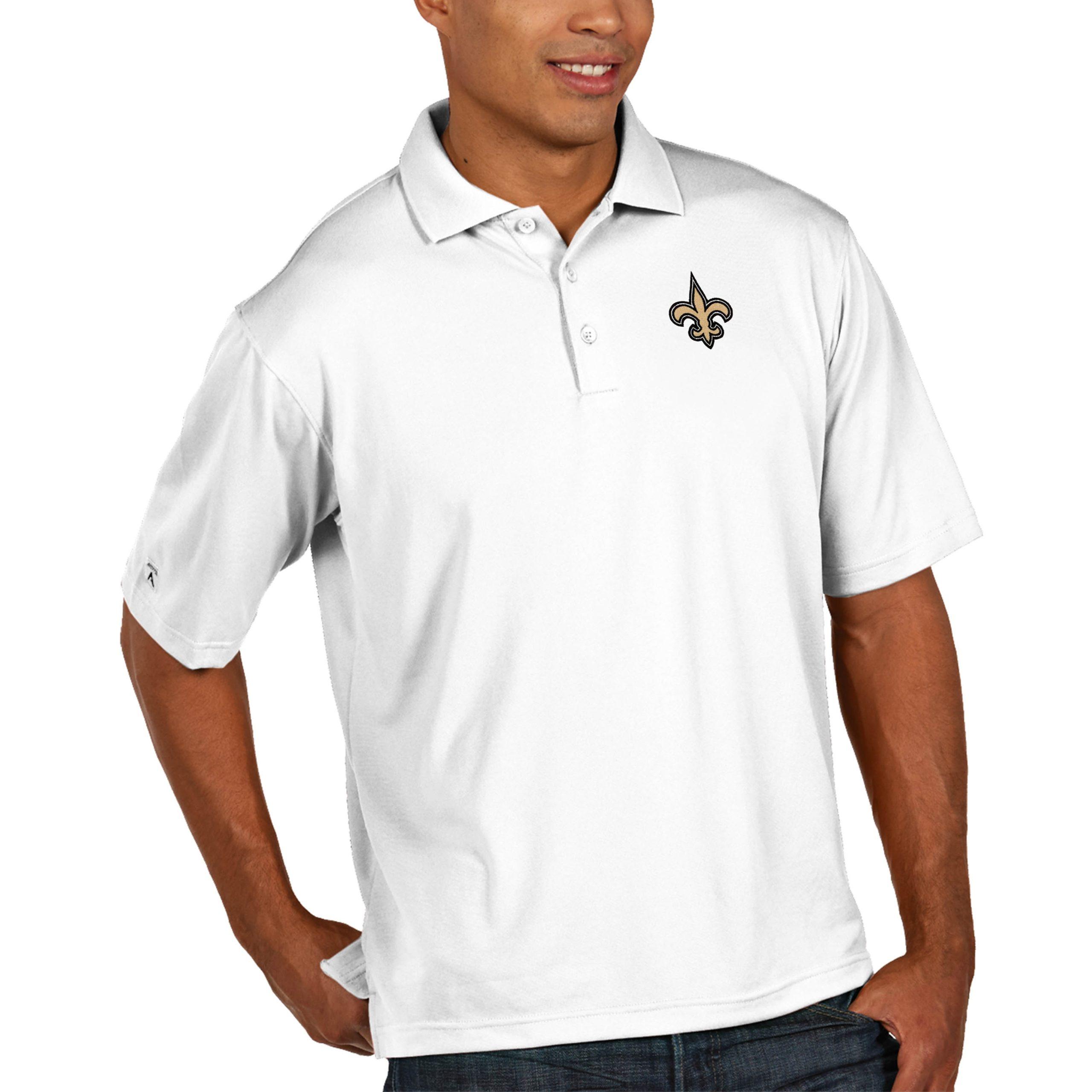 New Orleans Saints Antigua Pique Xtra Lite Big & Tall Polo - White