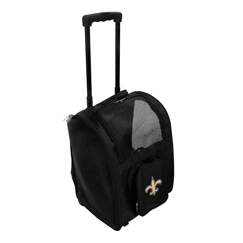 New Orleans Saints 2-Wheeled Roller Pet Carrier - Black