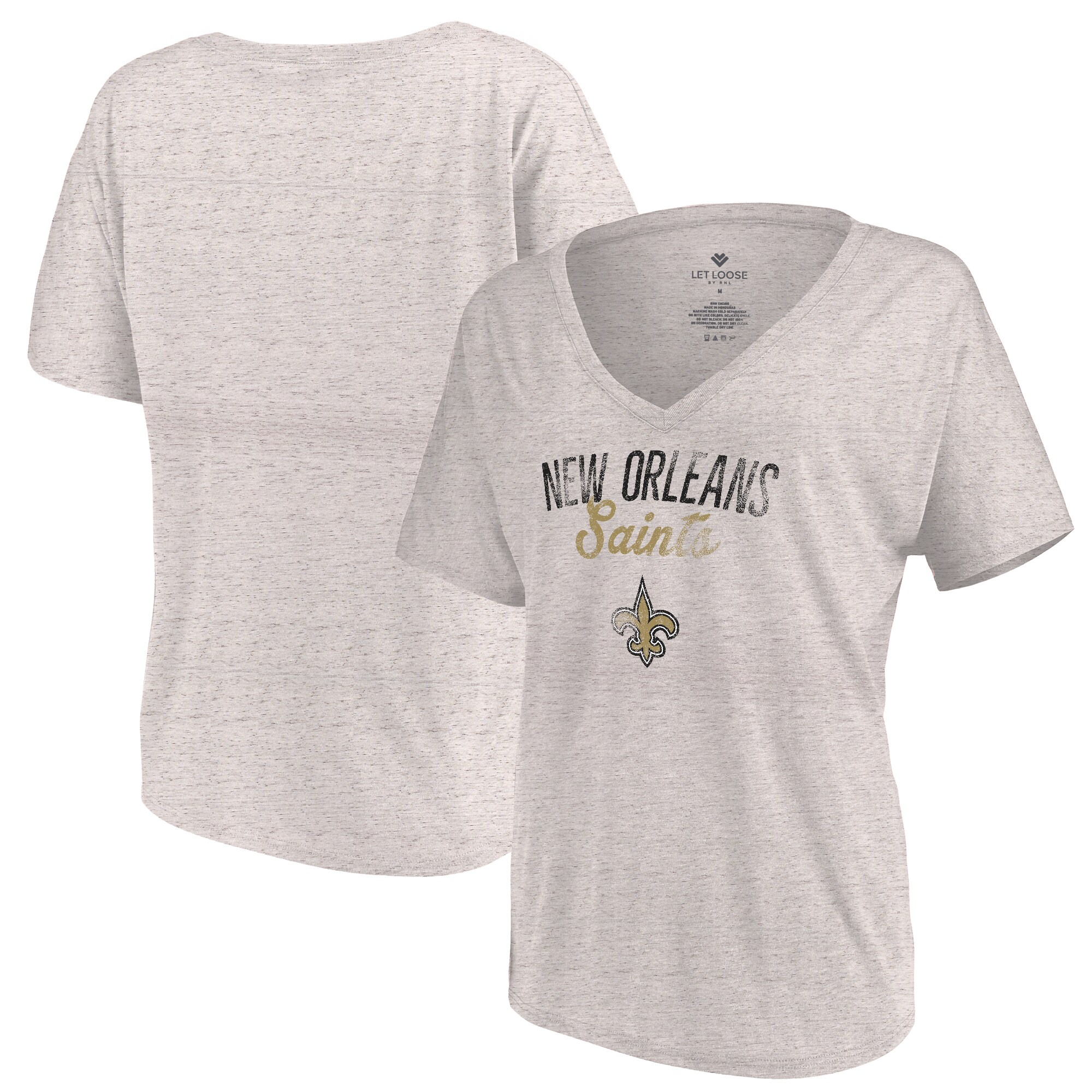New Orleans Saints Let Loose by RNL Women's Endless V-Neck T-Shirt - White Marble