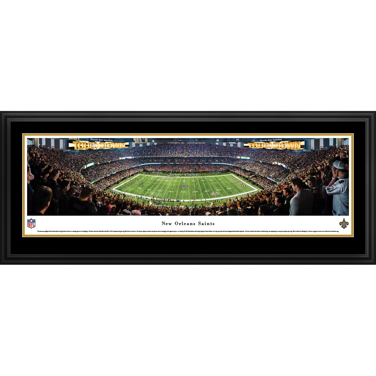 "New Orleans Saints 18"" x 44"" Deluxe Frame Panoramic Photo"