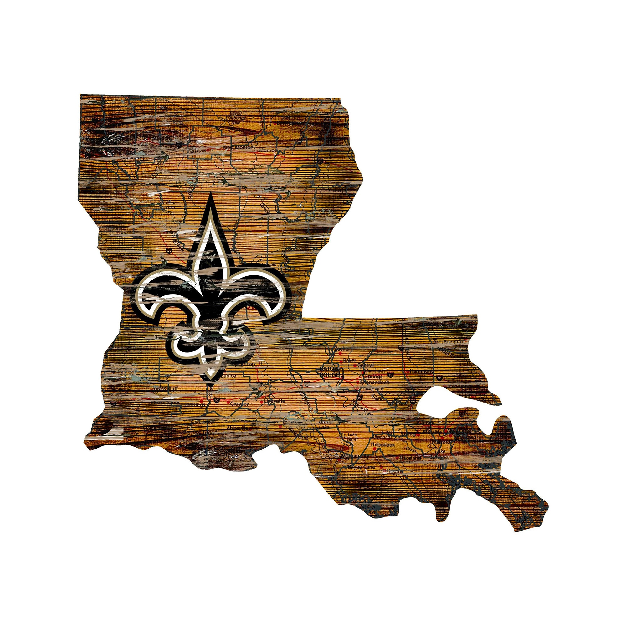 "New Orleans Saints 23.5"" x 23.5"" Distressed State with Logo Sign"