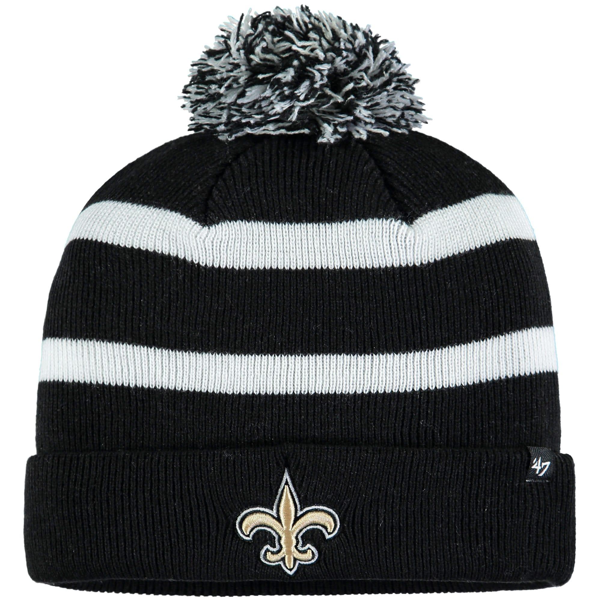 New Orleans Saints '47 Breakaway Cuffed Knit Hat with Pom - Black