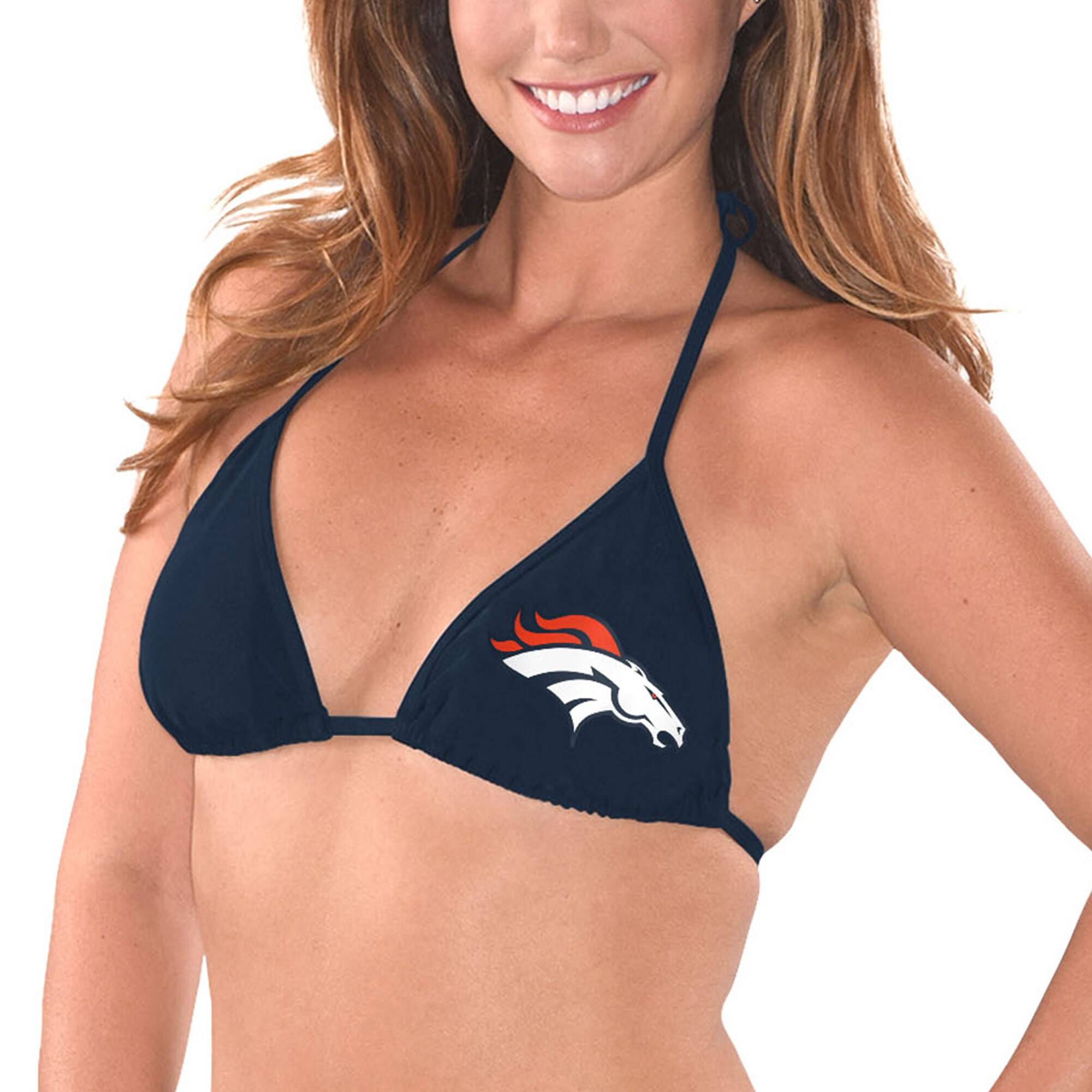 Denver Broncos G-III 4Her by Carl Banks Women's Breaking Waves Bikini Top - Navy