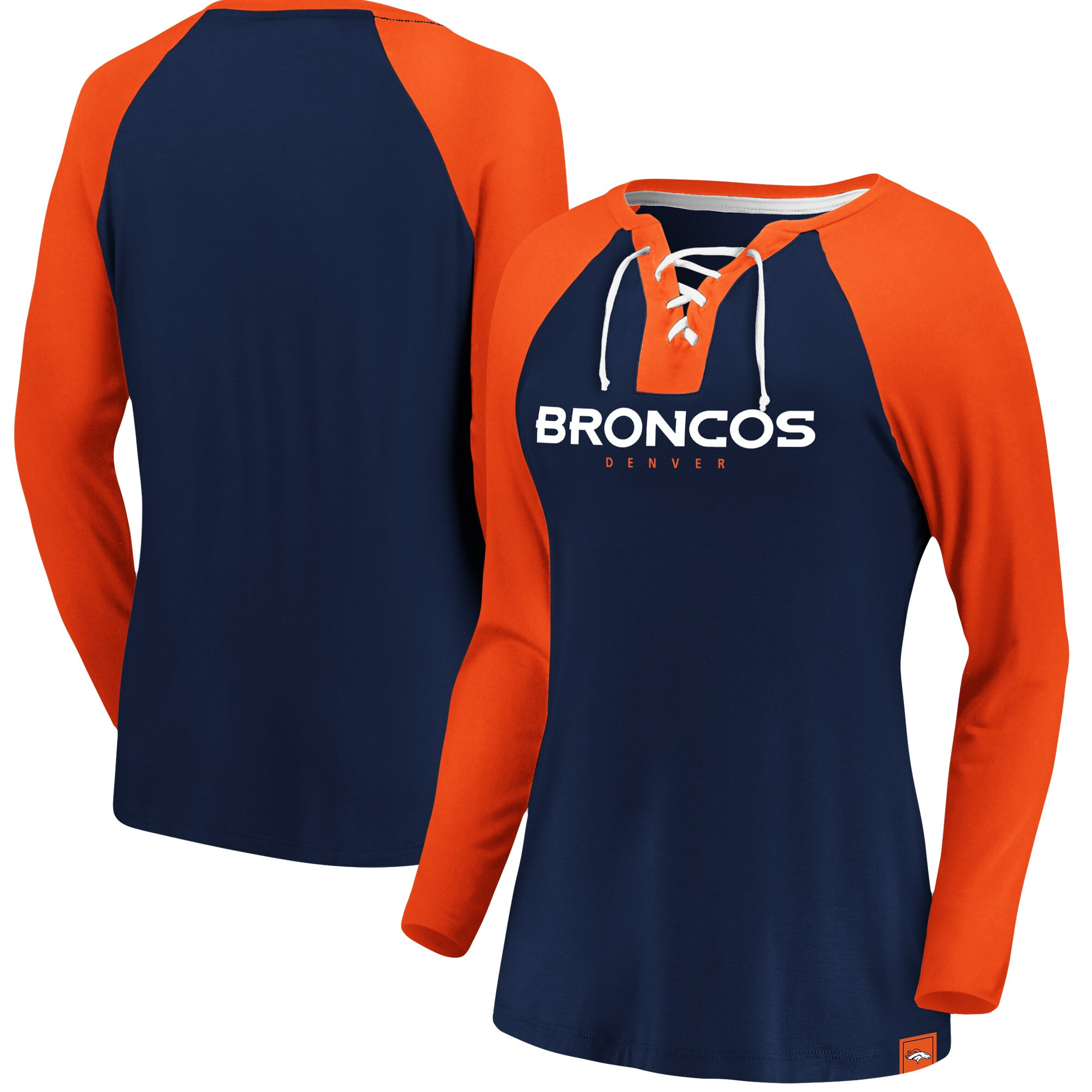 Denver Broncos NFL Pro Line by Fanatics Branded Women's Break Out Play Lace-Up V-Neck Raglan Long Sleeve T-Shirt - Navy/Orange
