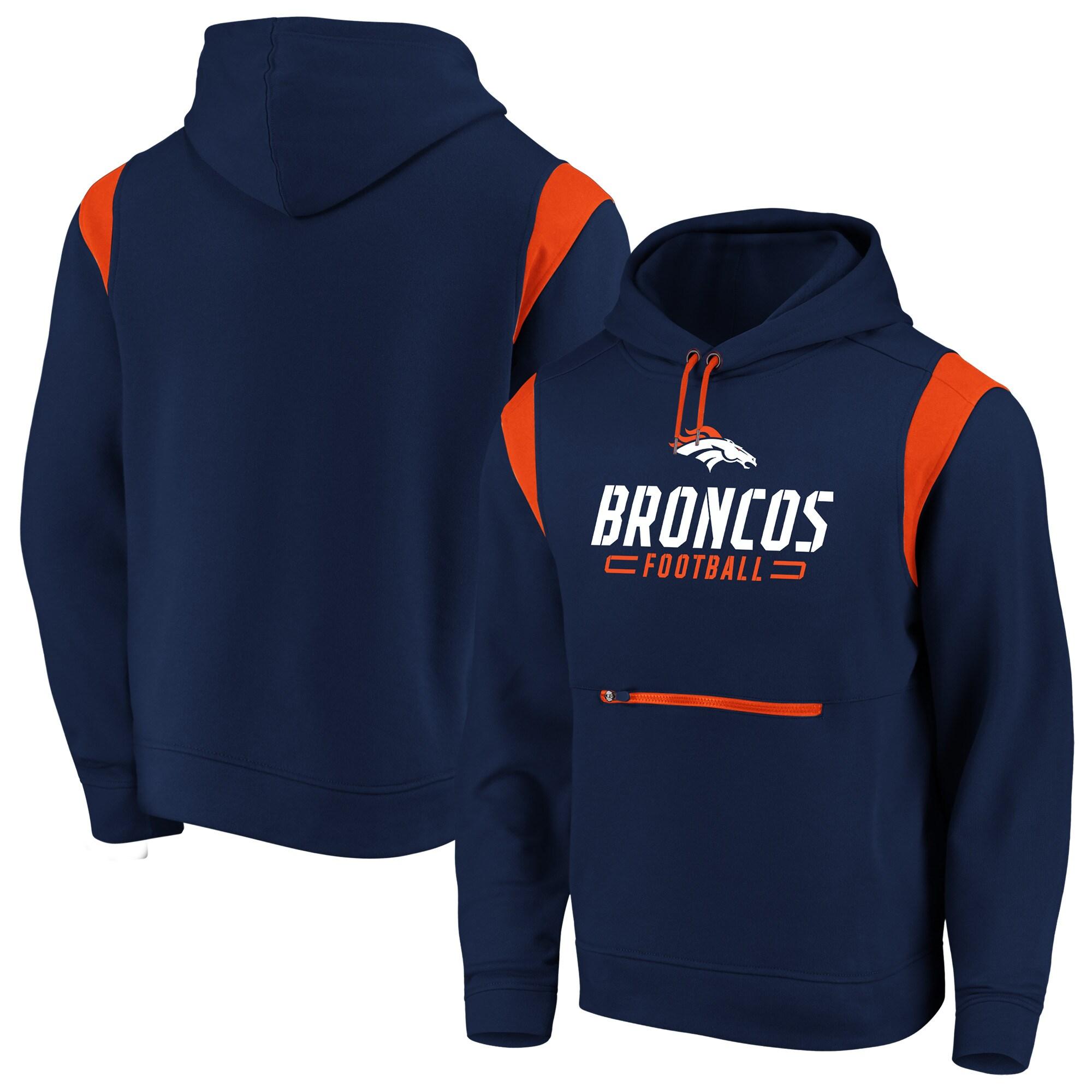 Denver Broncos NFL Pro Line by Fanatics Branded Iconic Overdrive Pullover Hoodie - Navy/Orange