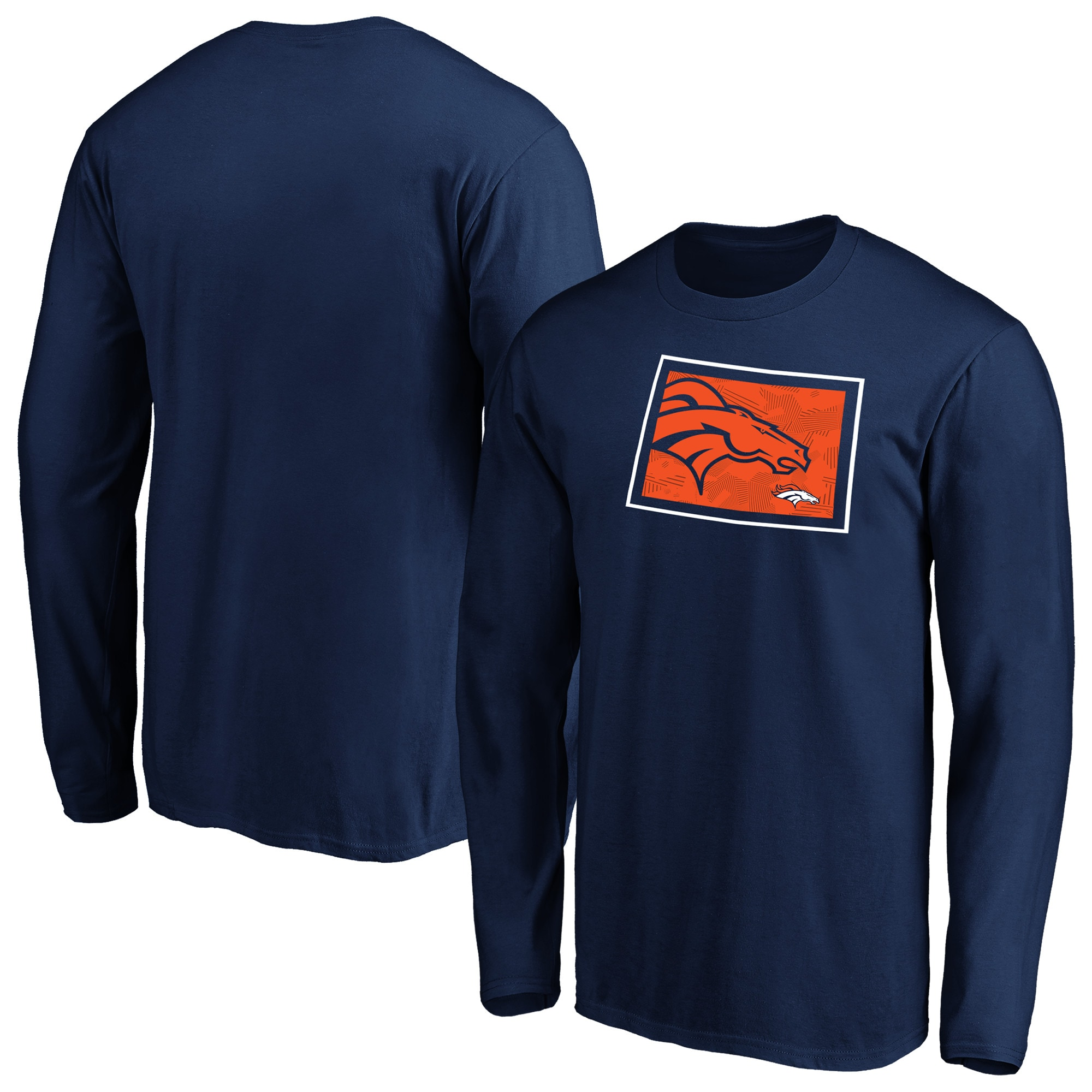 Denver Broncos NFL Pro Line by Fanatics Branded Iconic State Pride Long Sleeve T-Shirt - Navy