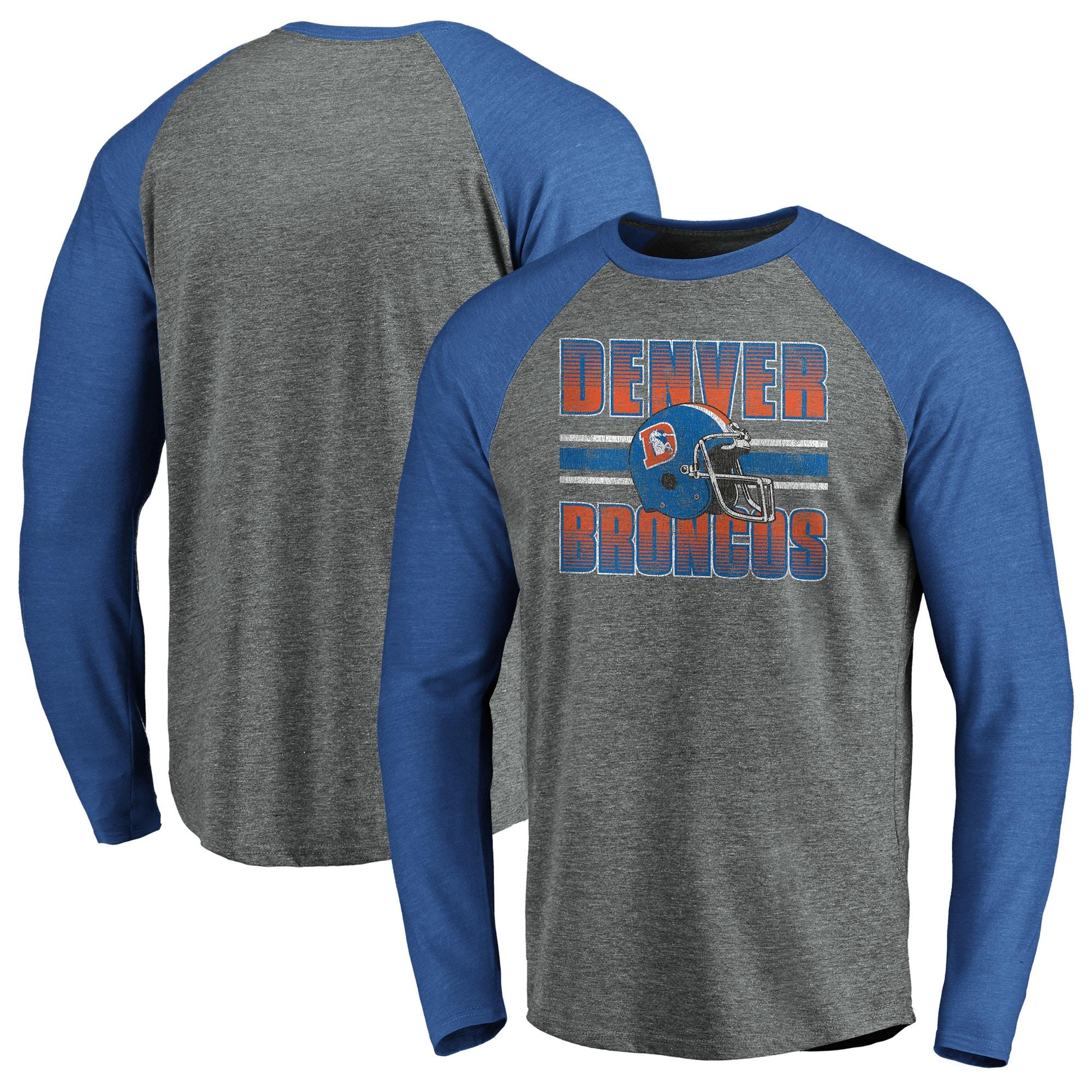 Denver Broncos NFL Pro Line by Fanatics Branded True Classics Stripe Helmet Throwback Tri-Blend Raglan Long Sleeve T-Shirt - Gray/Heathered Royal