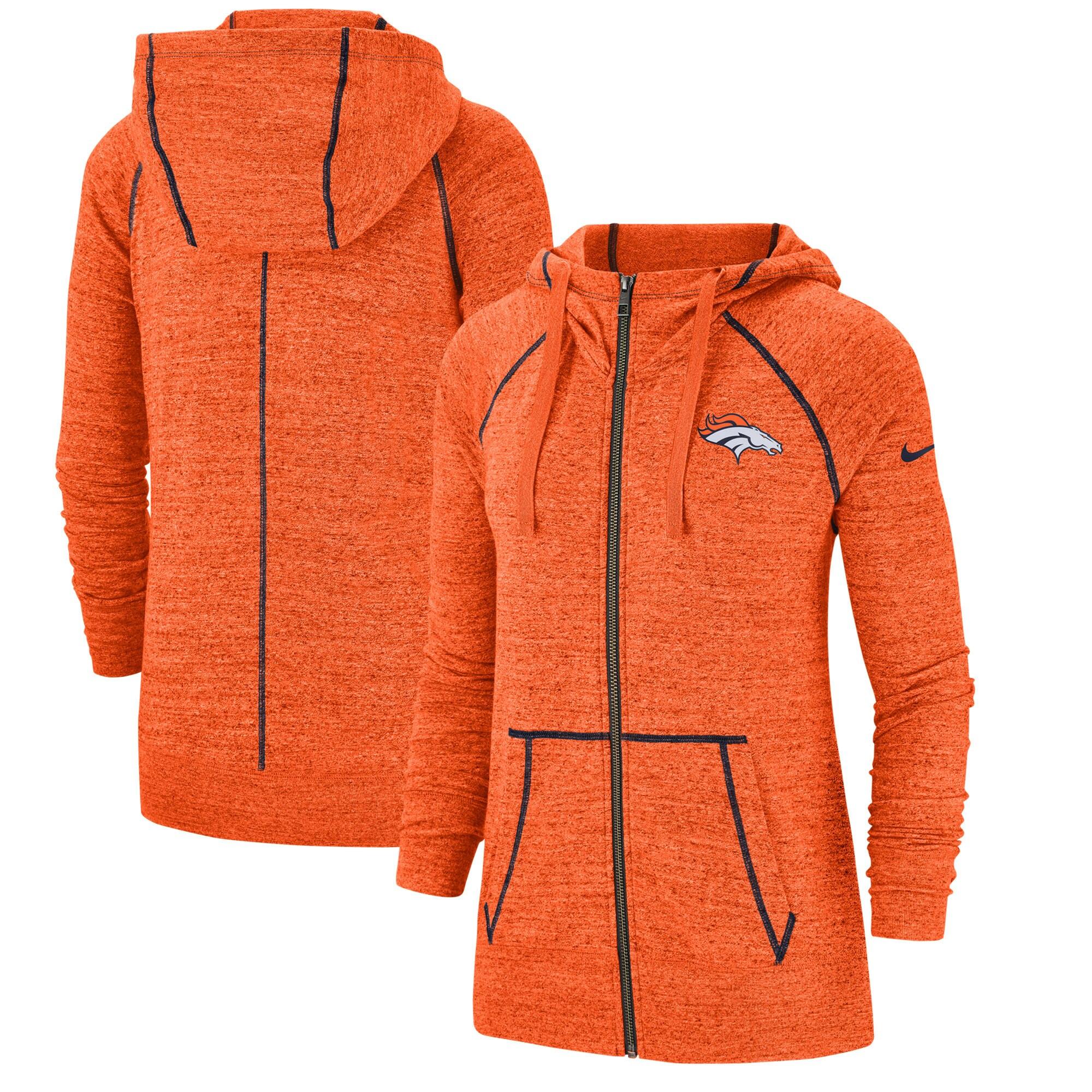 Denver Broncos Nike Women's Gym Vintage Raglan Full-Zip Hoodie - Heathered Orange
