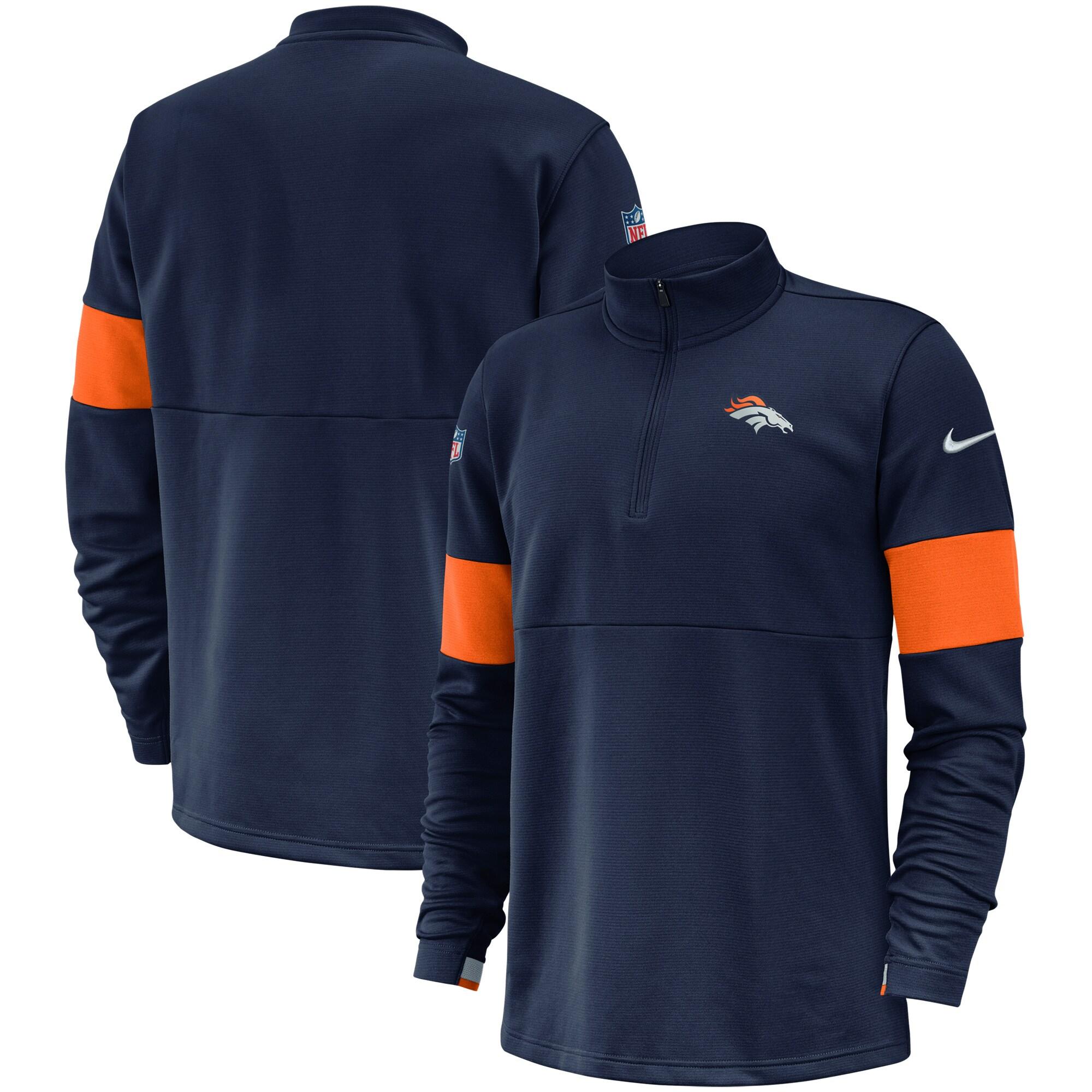 Denver Broncos Nike Sideline Performance Half-Zip Pullover Jacket - Navy