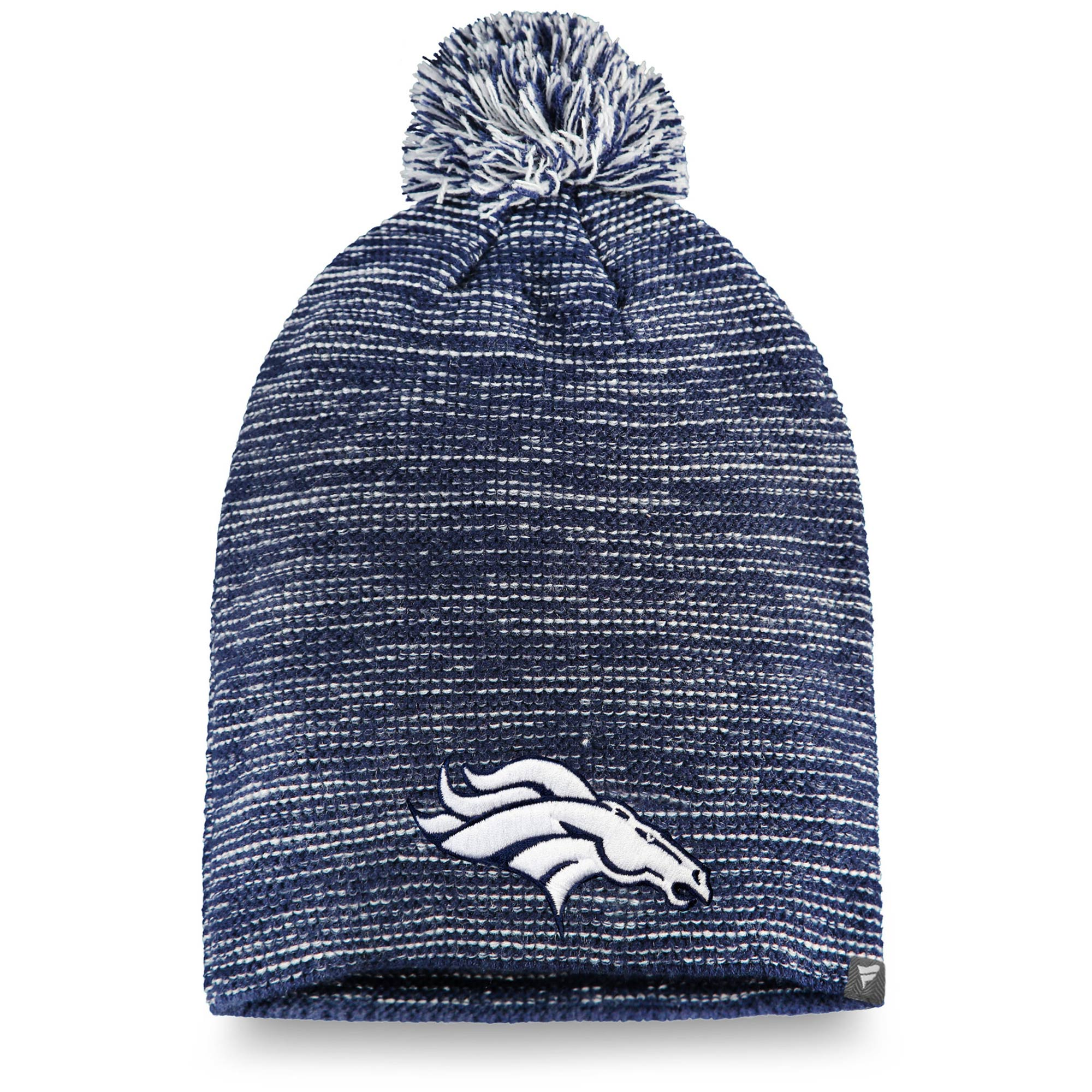 Denver Broncos NFL Pro Line by Fanatics Branded Women's Versalux Knit Beanie with Pom - Navy