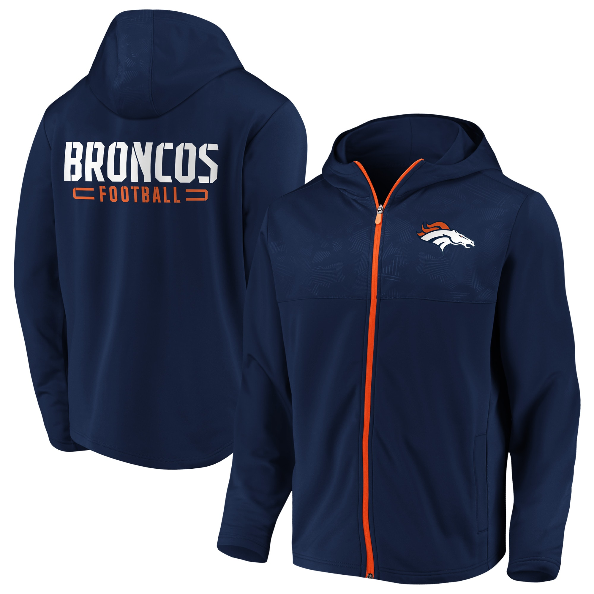 Denver Broncos NFL Pro Line by Fanatics Branded Big & Tall Iconic Defender Mission Primary Full-Zip Hoodie - Navy