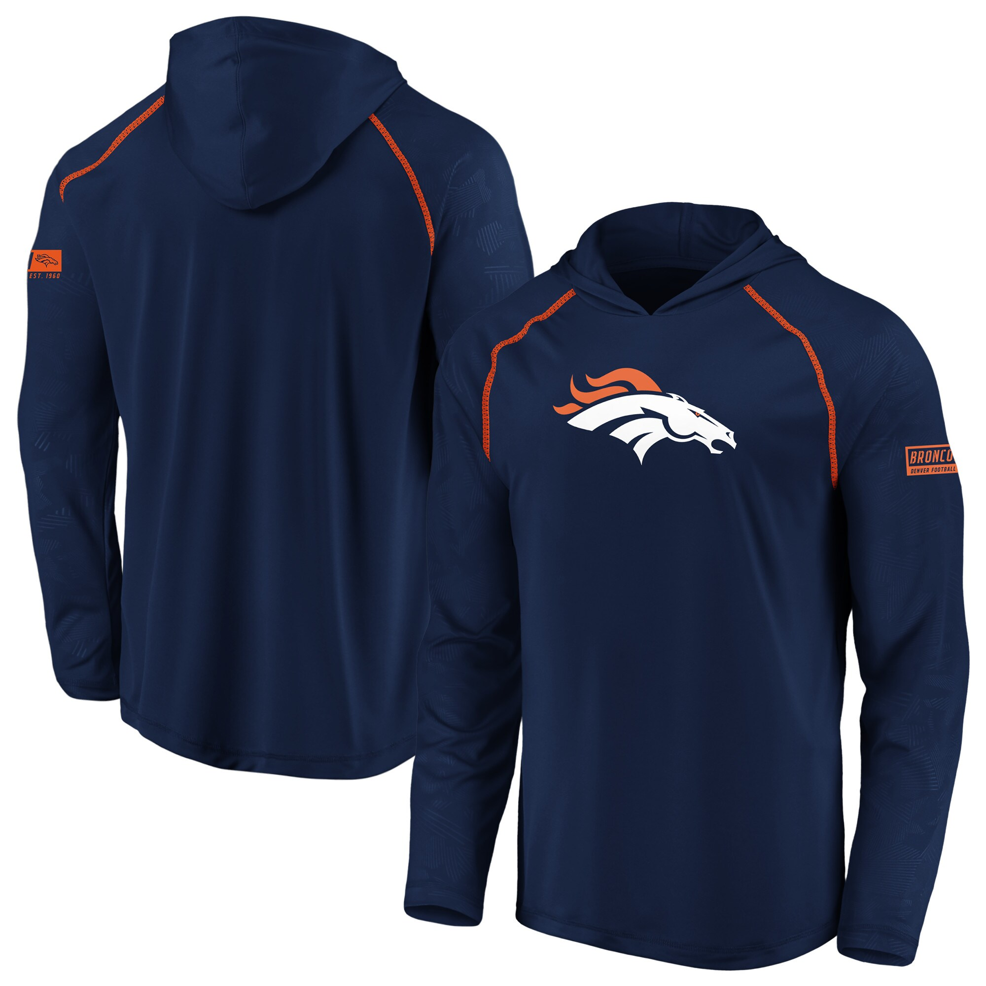 Denver Broncos NFL Pro Line by Fanatics Branded Big & Tall Iconic Defender Primary Logo Raglan Long Sleeve Hoodie T-Shirt - Navy