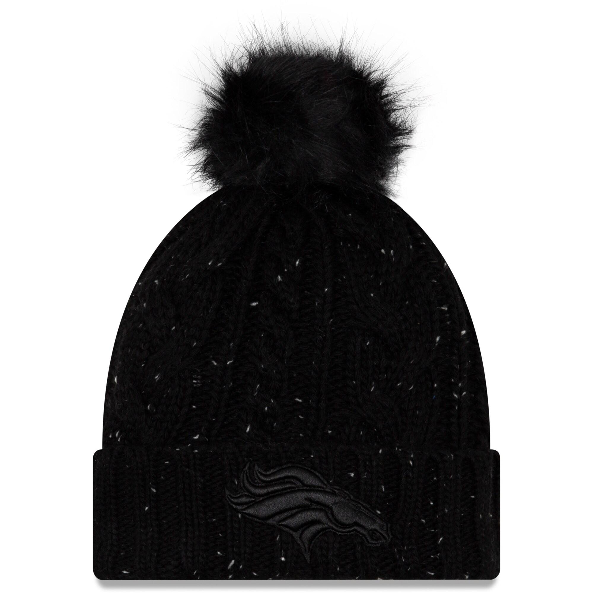 Denver Broncos New Era Women's Cuffed Knit Hat with Fuzzy Pom - Black