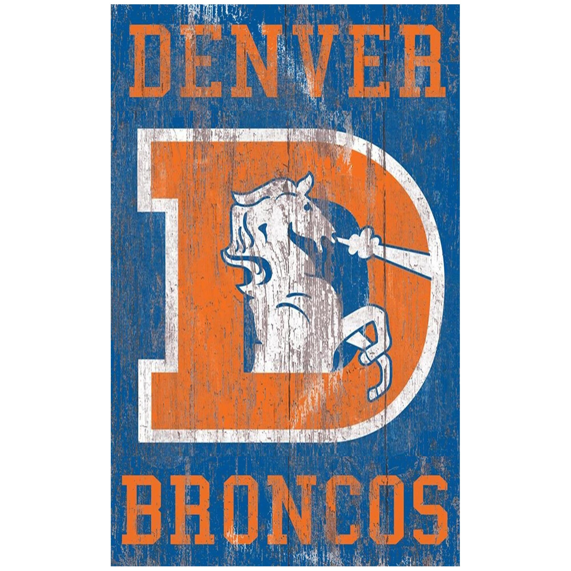 Denver Broncos 11'' x 19'' Heritage Distressed Logo Sign