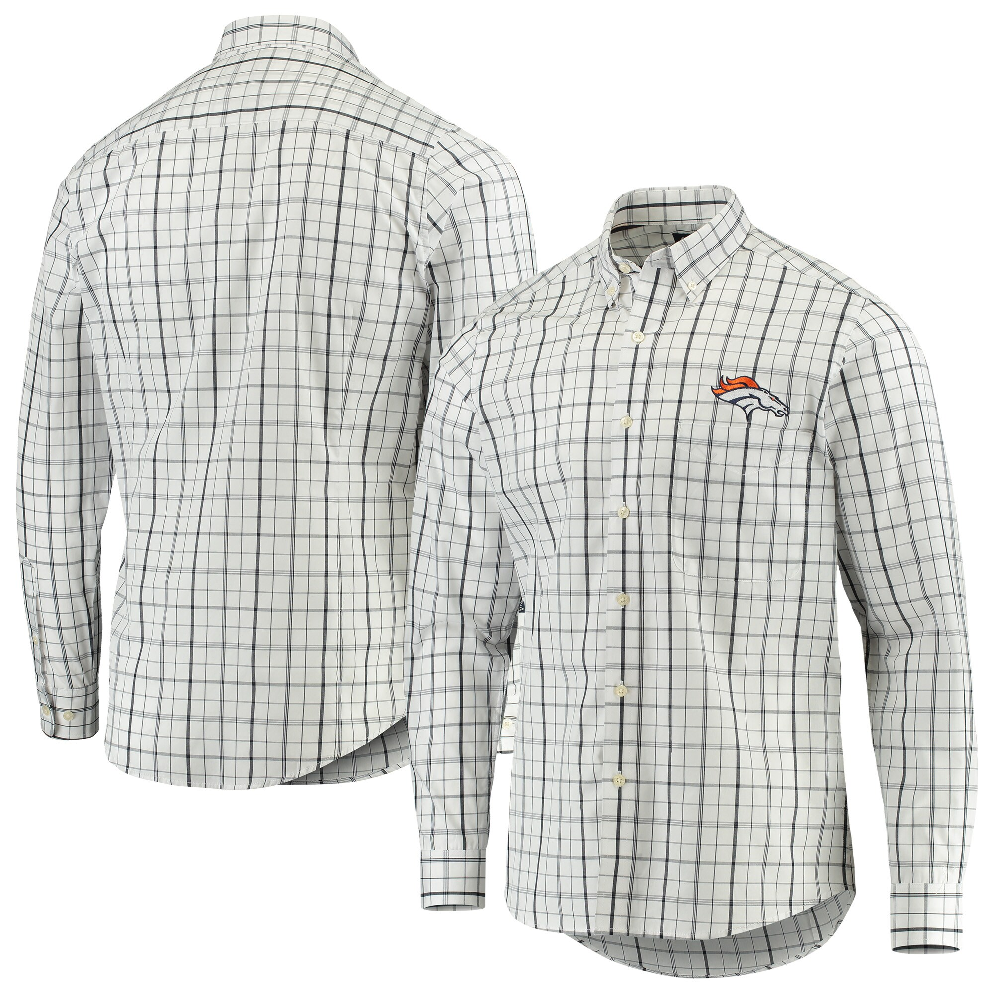 Denver Broncos Antigua Keen Long Sleeve Button-Down Shirt - White/Navy