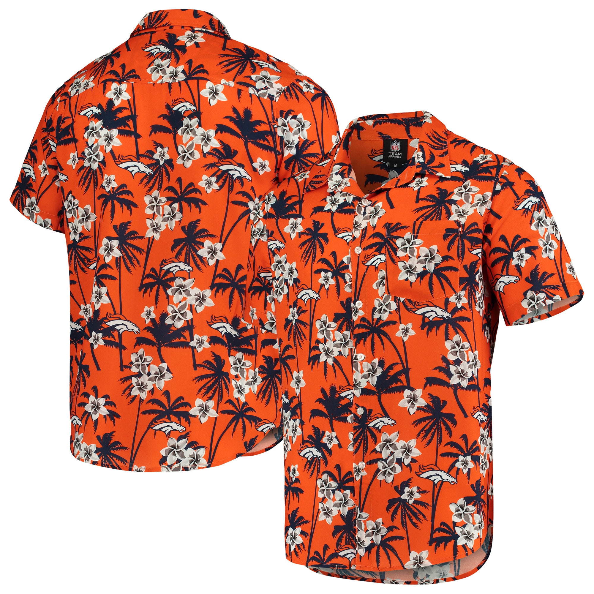 Denver Broncos Floral Woven Button-Up Shirt - Orange