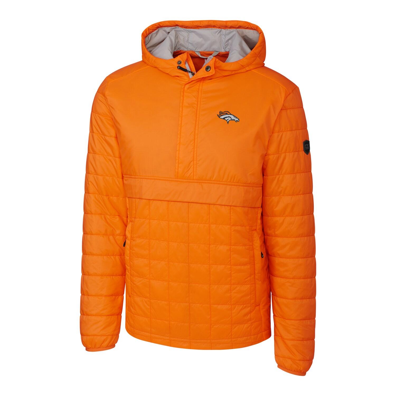 Denver Broncos Cutter & Buck Rainier Hooded Half-Zip Pullover Jacket - Orange