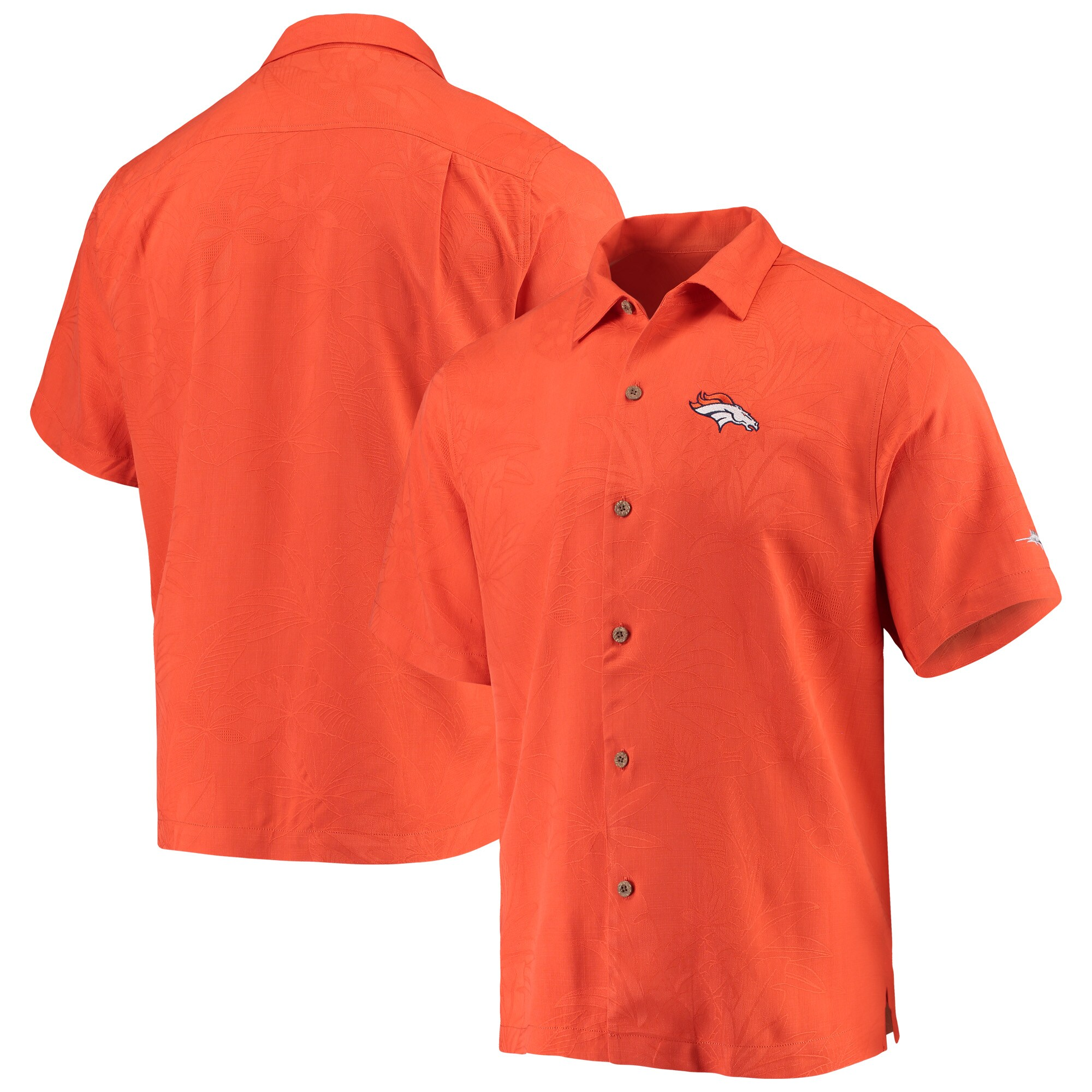 Denver Broncos Tommy Bahama Al Fresco Tropics Jacquard Woven Button-Down Shirt - Orange