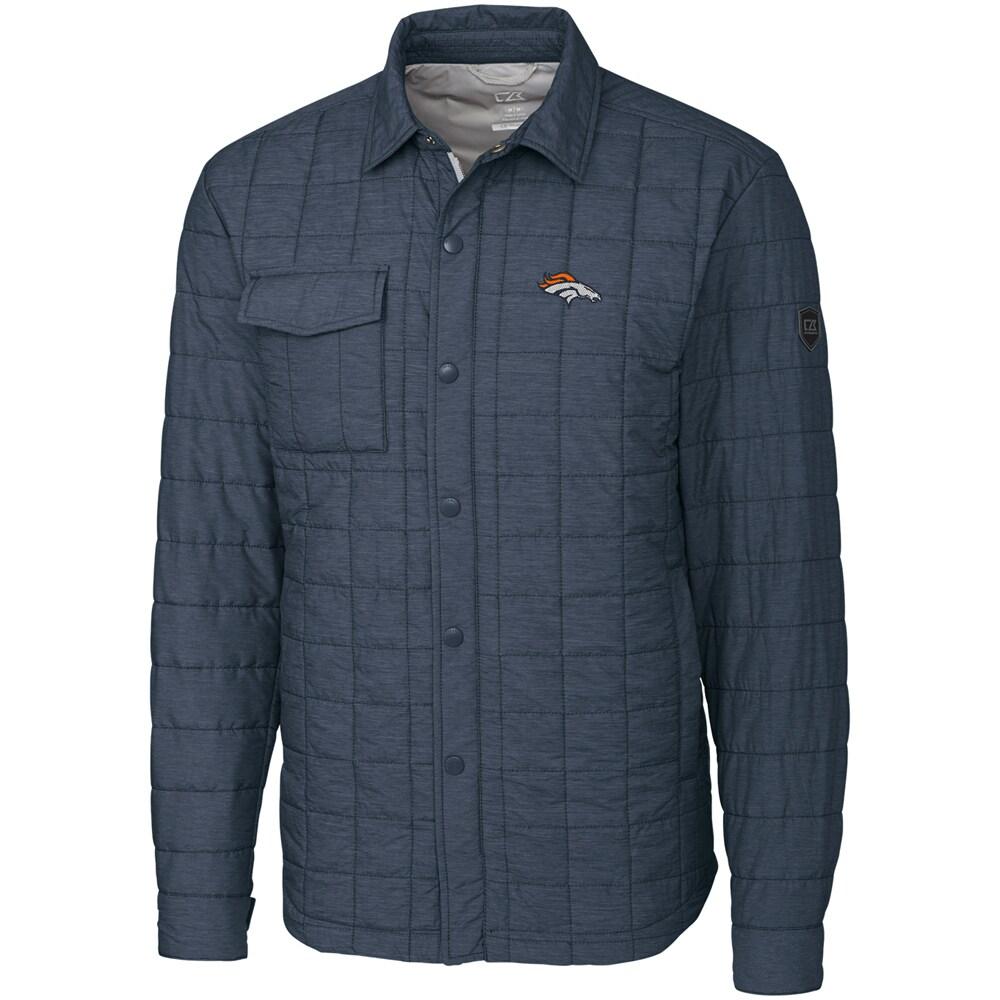 Denver Broncos Cutter & Buck Big & Tall Rainier Shirt Jacket - Charcoal