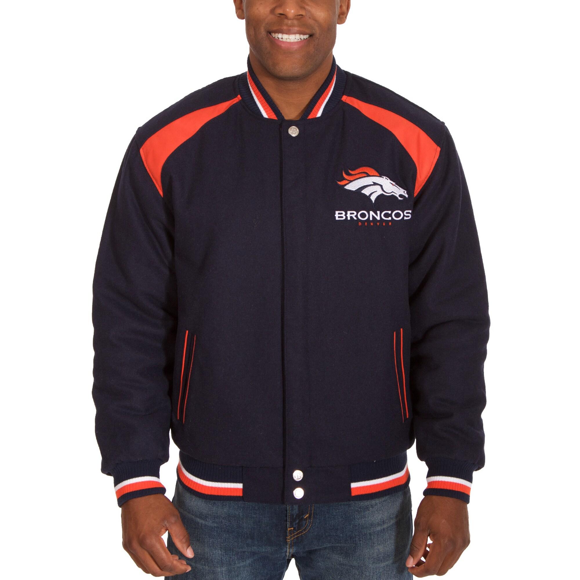 Denver Broncos JH Design Reversible Wool Embroidered Jacket - Navy