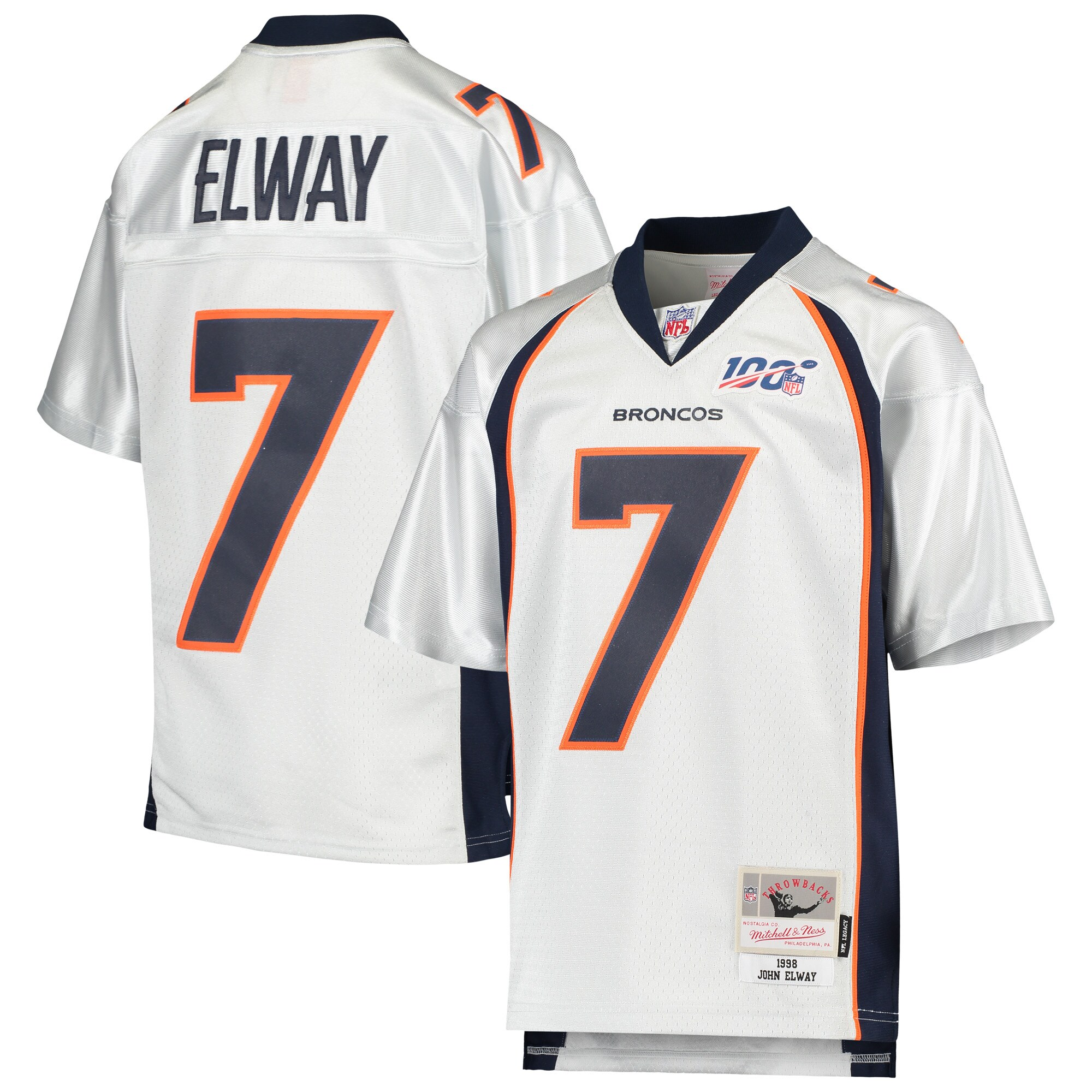 John Elway Denver Broncos Mitchell & Ness Youth NFL 100 Retired Player Legacy Jersey - Platinum