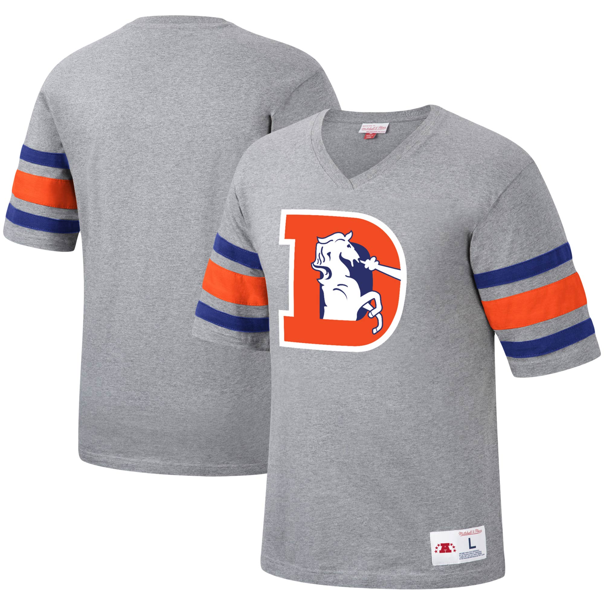 Denver Broncos Mitchell & Ness Post Season Run V-Neck T-Shirt - Heathered Gray