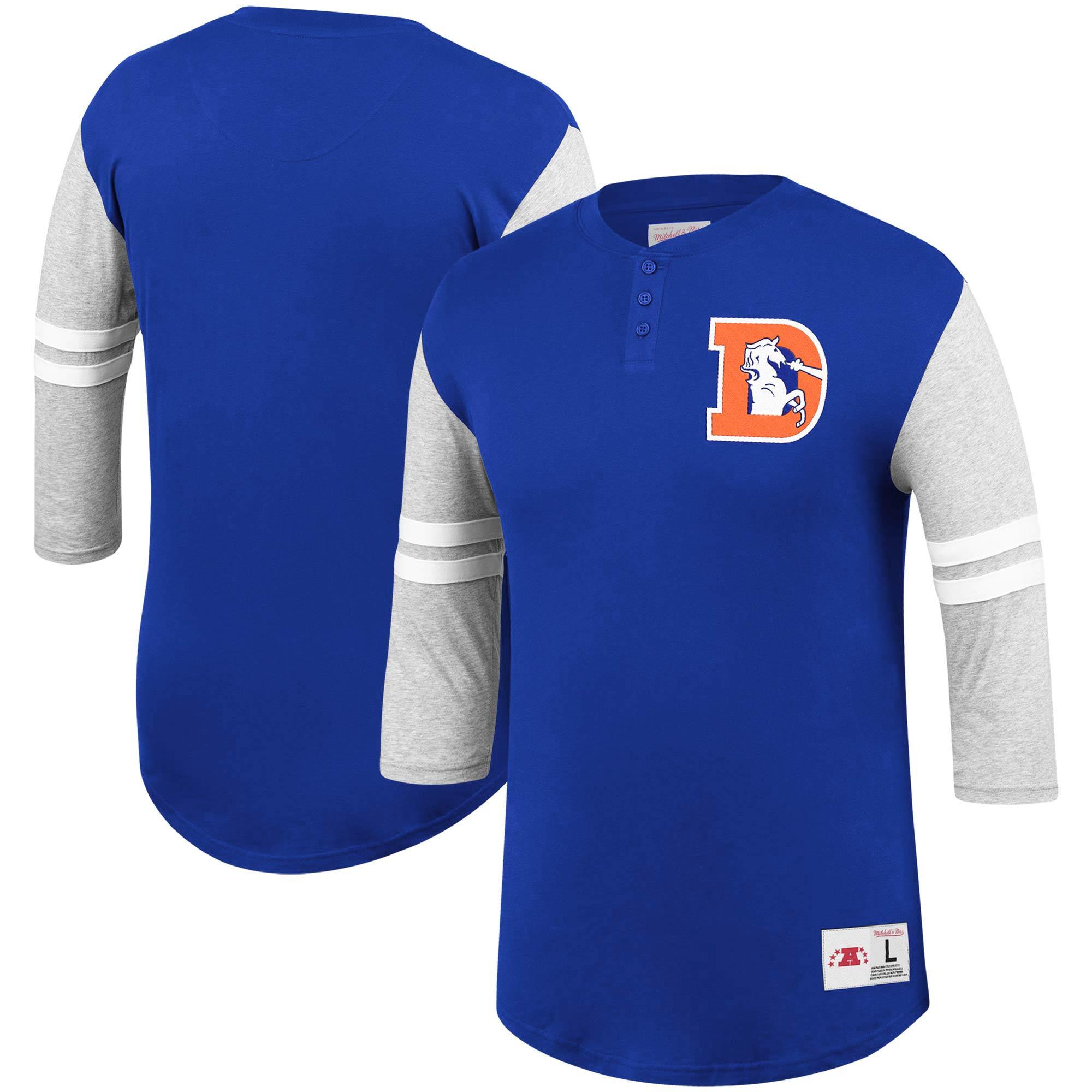 Denver Broncos Mitchell & Ness Team Logo 3/4-Sleeve Henley T-Shirt - Royal